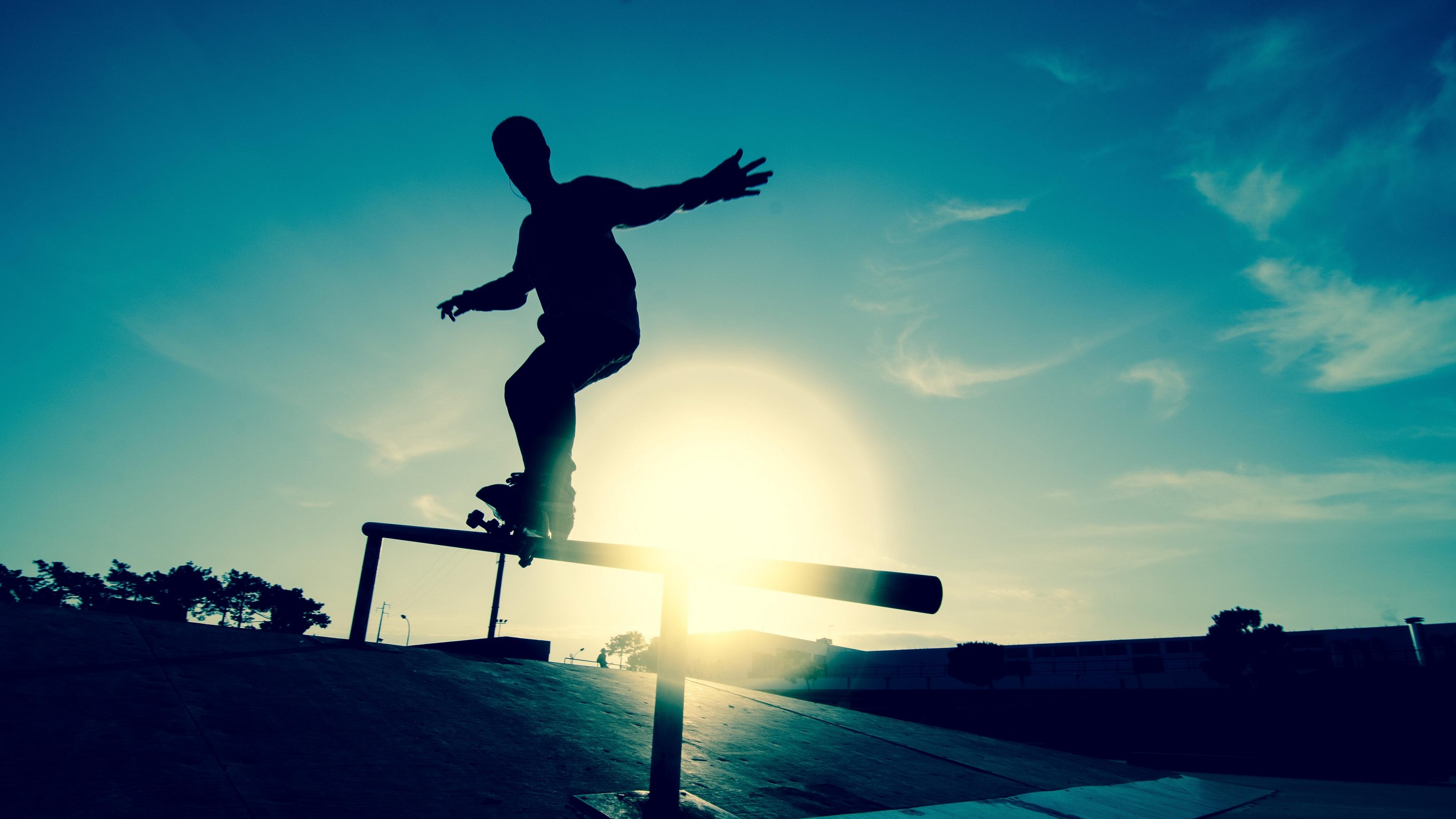 skate board athlete railings motion silhouette ice rink 4k 1540063417 - skate, board, athlete, railings, motion, silhouette, ice rink 4k - skate, board, Athlete