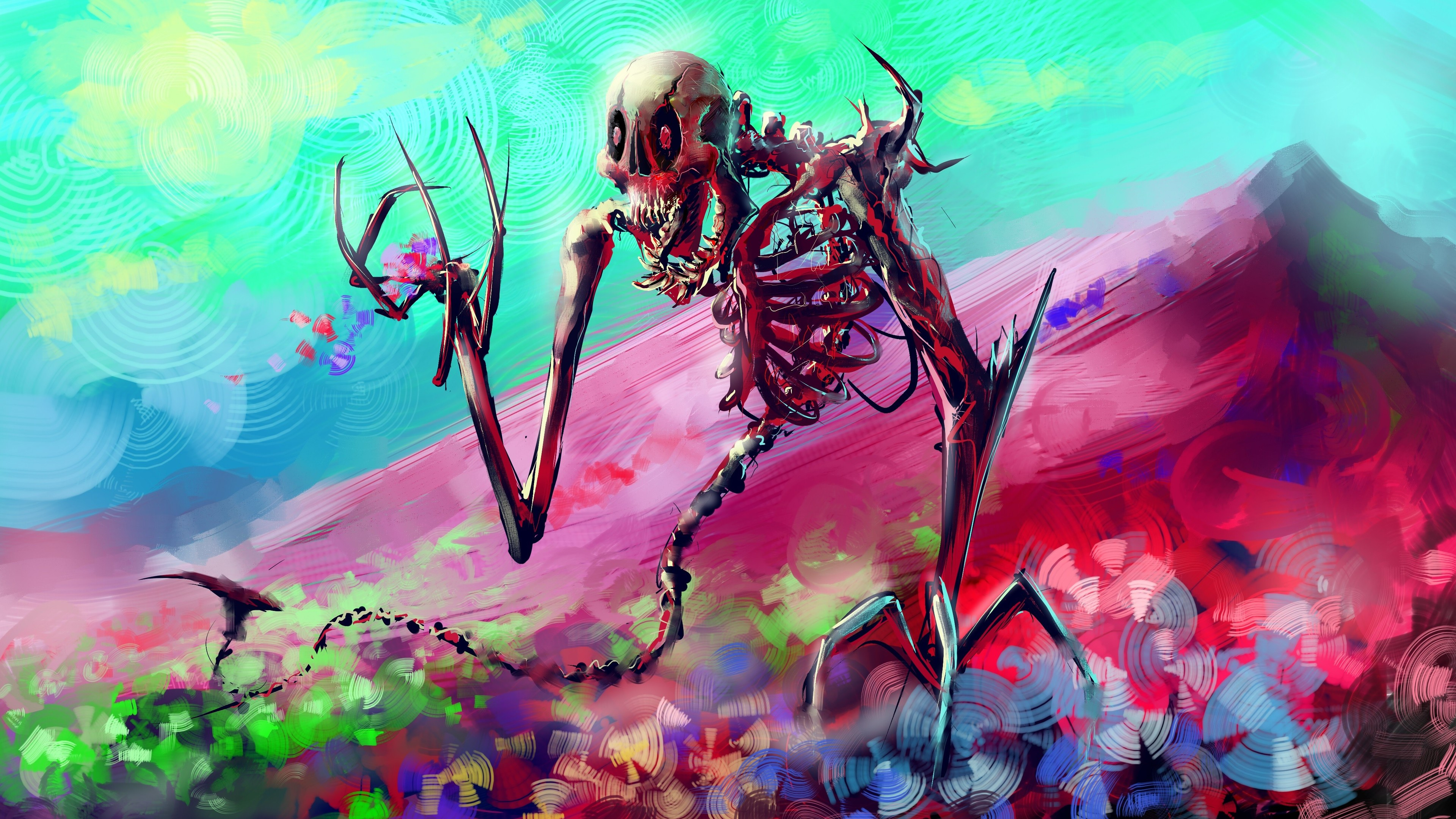 Wallpaper 4k Skelton Skull Colorful Digital Art 4k 4k