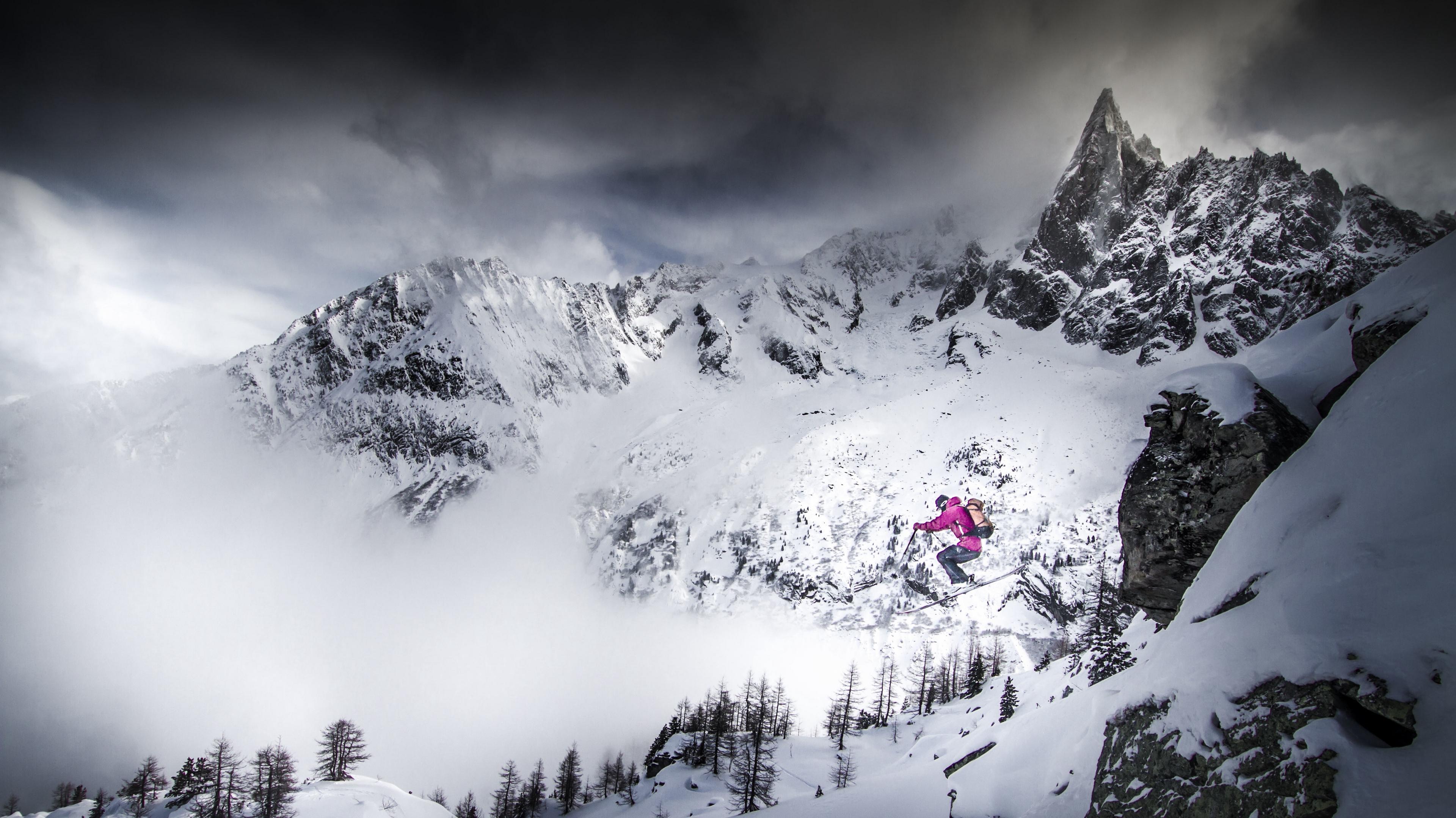 skiing skier jump mountains snow 4k 1540063422 - skiing, skier, jump, mountains, snow 4k - Skiing, skier, jump