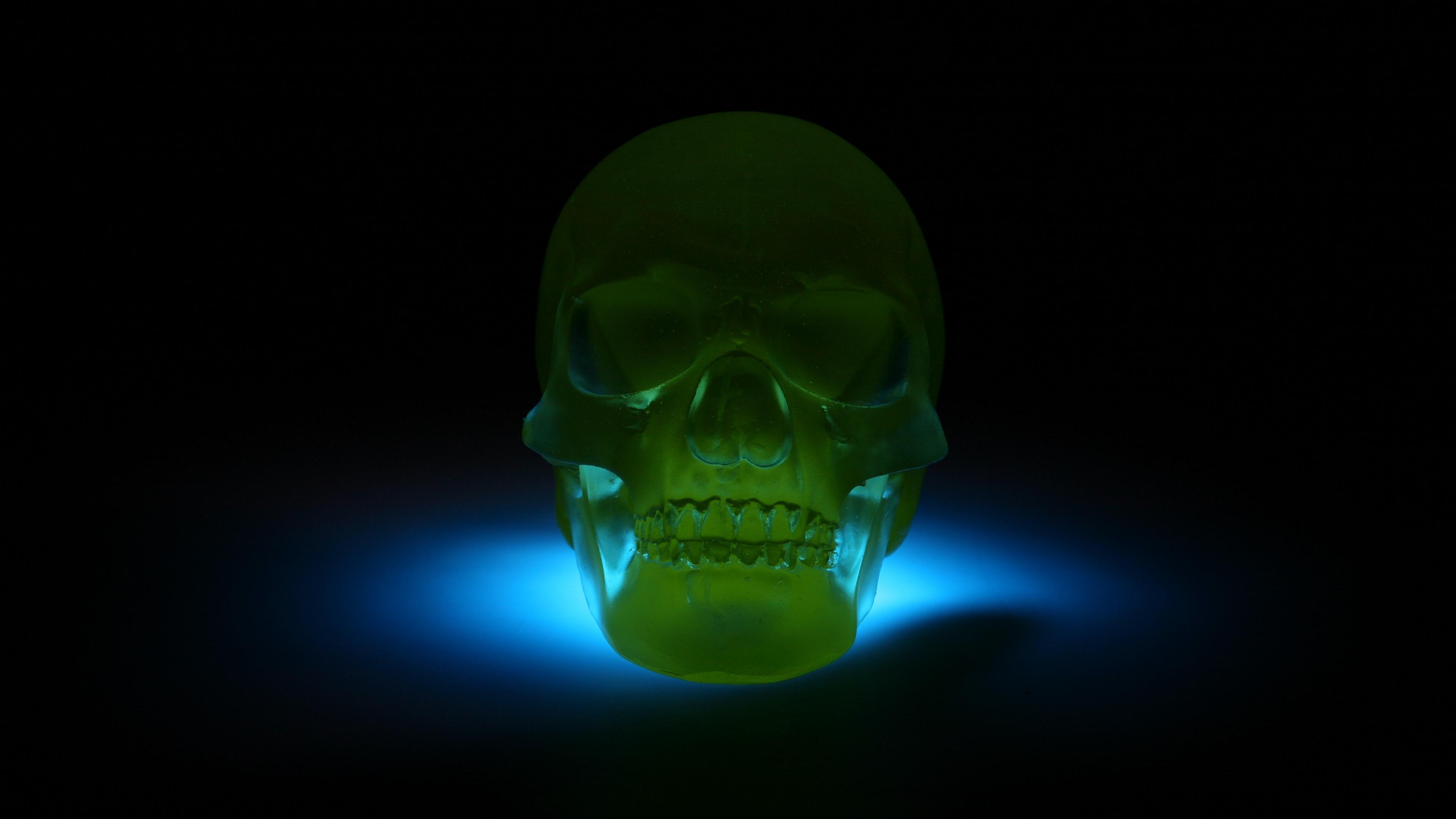 skull 3d model neon shadow 4k 1540574346 - skull, 3d model, neon, shadow 4k - Skull, Neon, 3d model