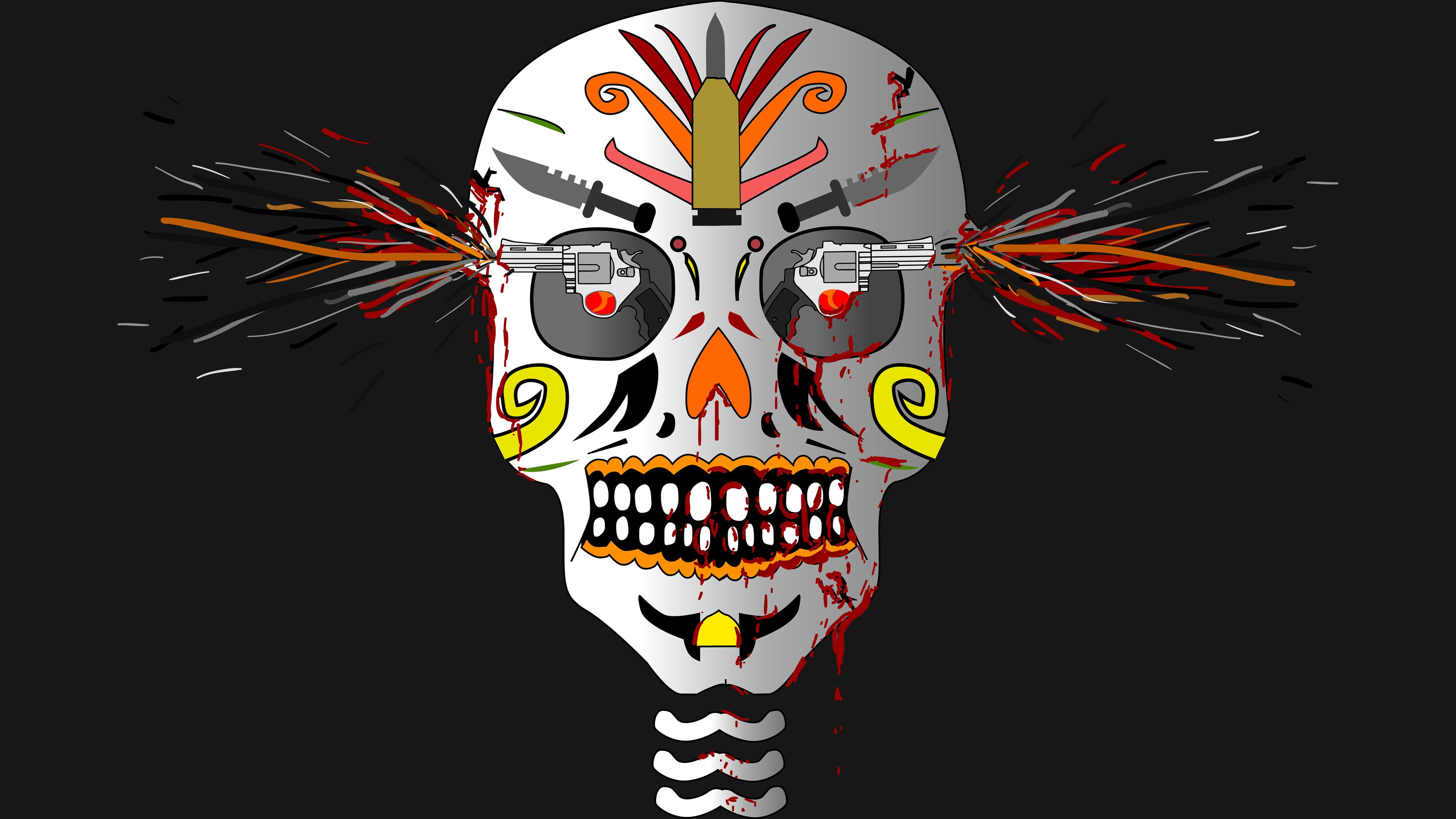 skull and gun art 4k 1540754428 - Skull And Gun Art 4k - skull wallpapers, hd-wallpapers, gun wallpapers, digital art wallpapers, artwork wallpapers, artist wallpapers, 8k wallpapers, 5k wallpapers, 4k-wallpapers