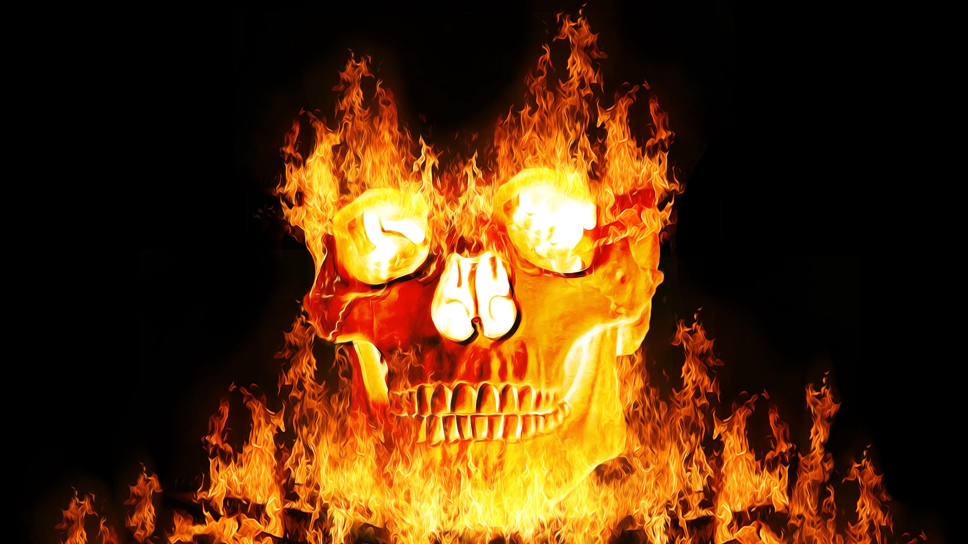 Wallpaper 4k Skull Fire Flame Dark 4k Fire Flame Skull