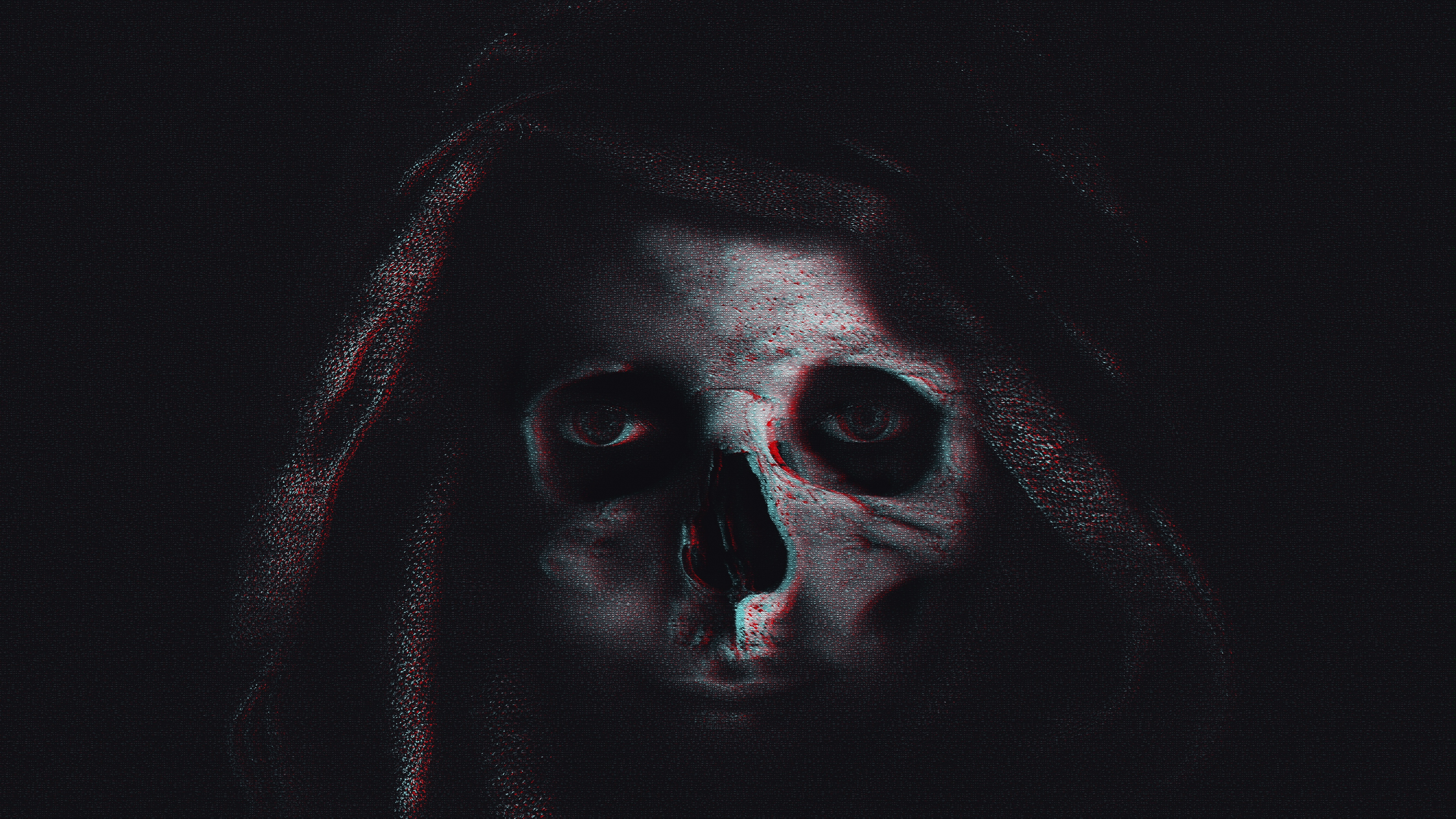skull hood glitch noise 4k 1540575234 - skull, hood, glitch, noise 4k - Skull, Hood, glitch