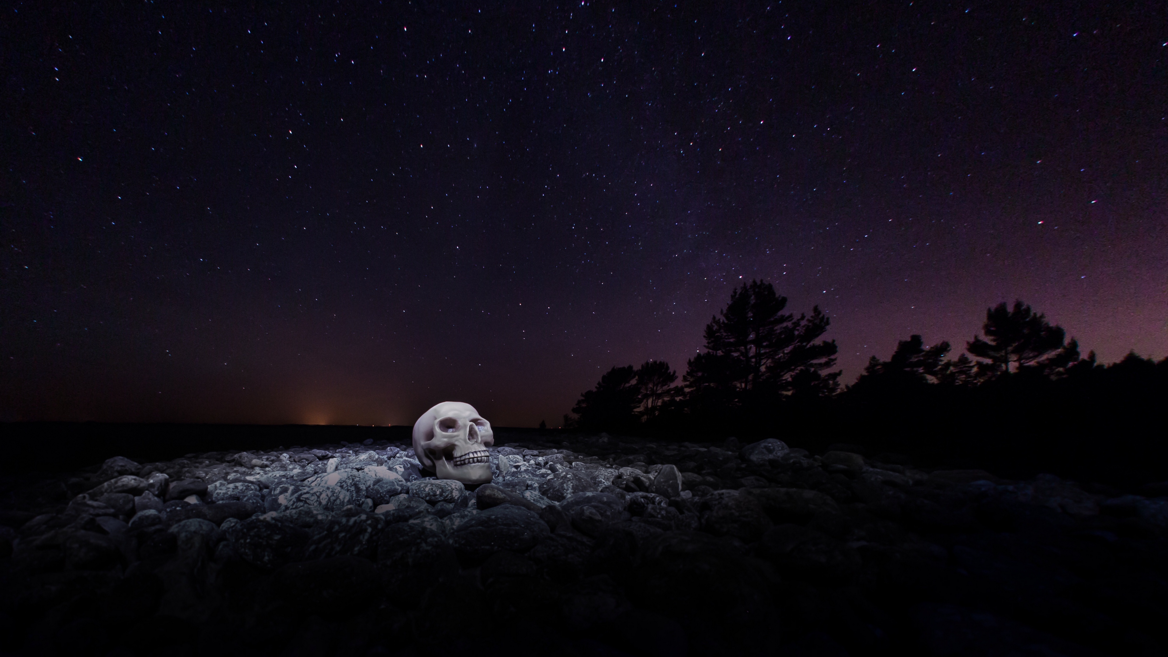 skull starry sky stones night 4k 1540574979 - skull, starry sky, stones, night 4k - Stones, starry sky, Skull