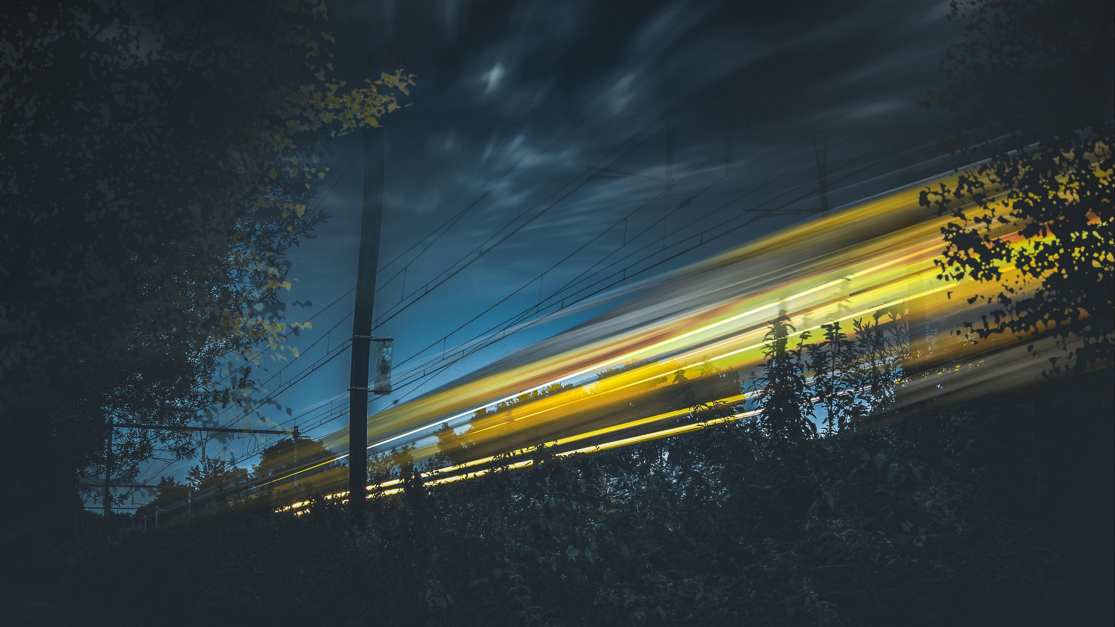 sky light railway night 4k 1540575278 - sky, light, railway, night 4k - Sky, railway, Light