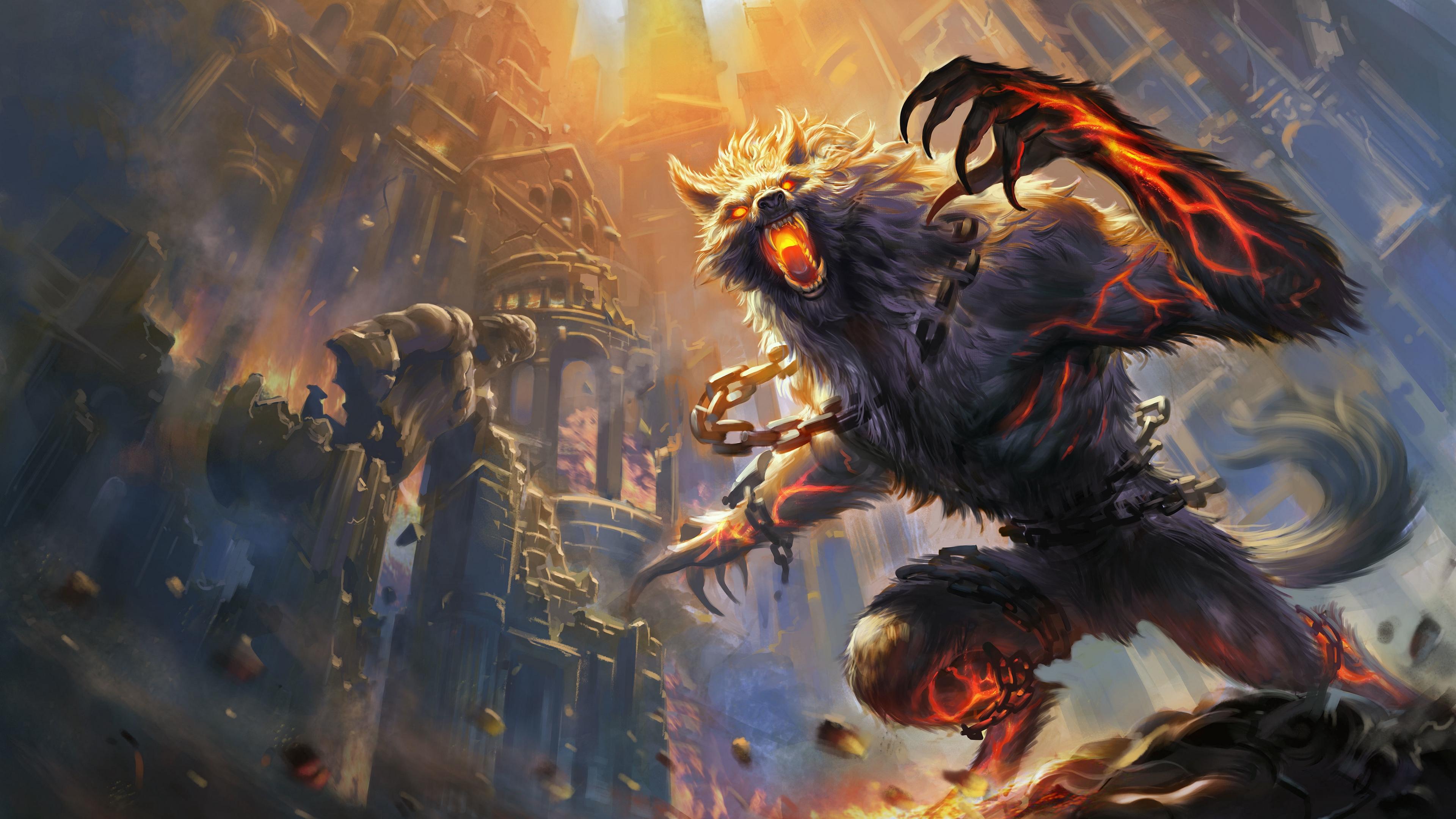 smite werewolf castle fire art 4k 1538944946 - smite, werewolf, castle, fire, art 4k - werewolf, Smite, Castle