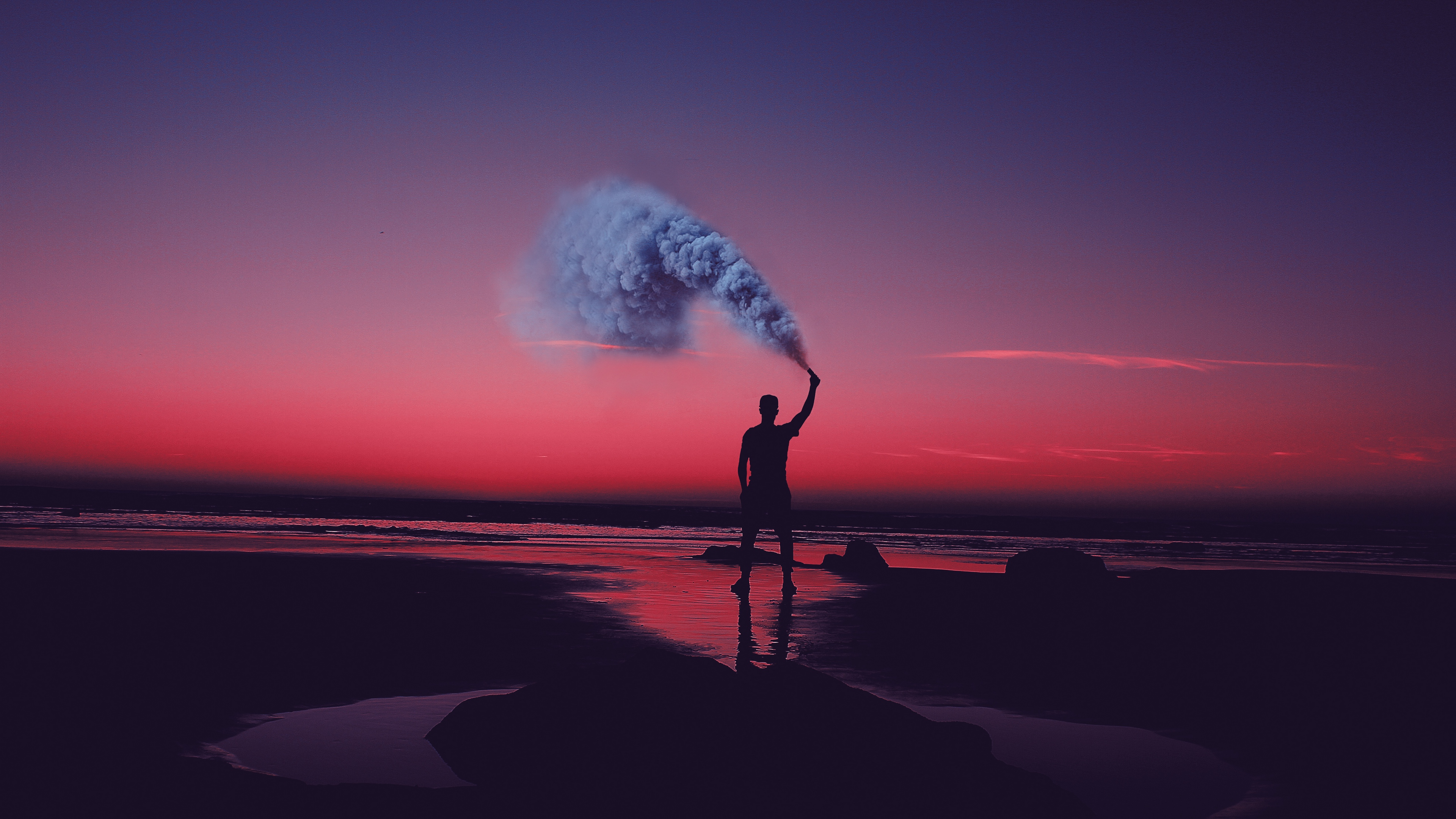 Wallpaper 4k Smoke Bombs Smoke Flare Shore Sunset 4k