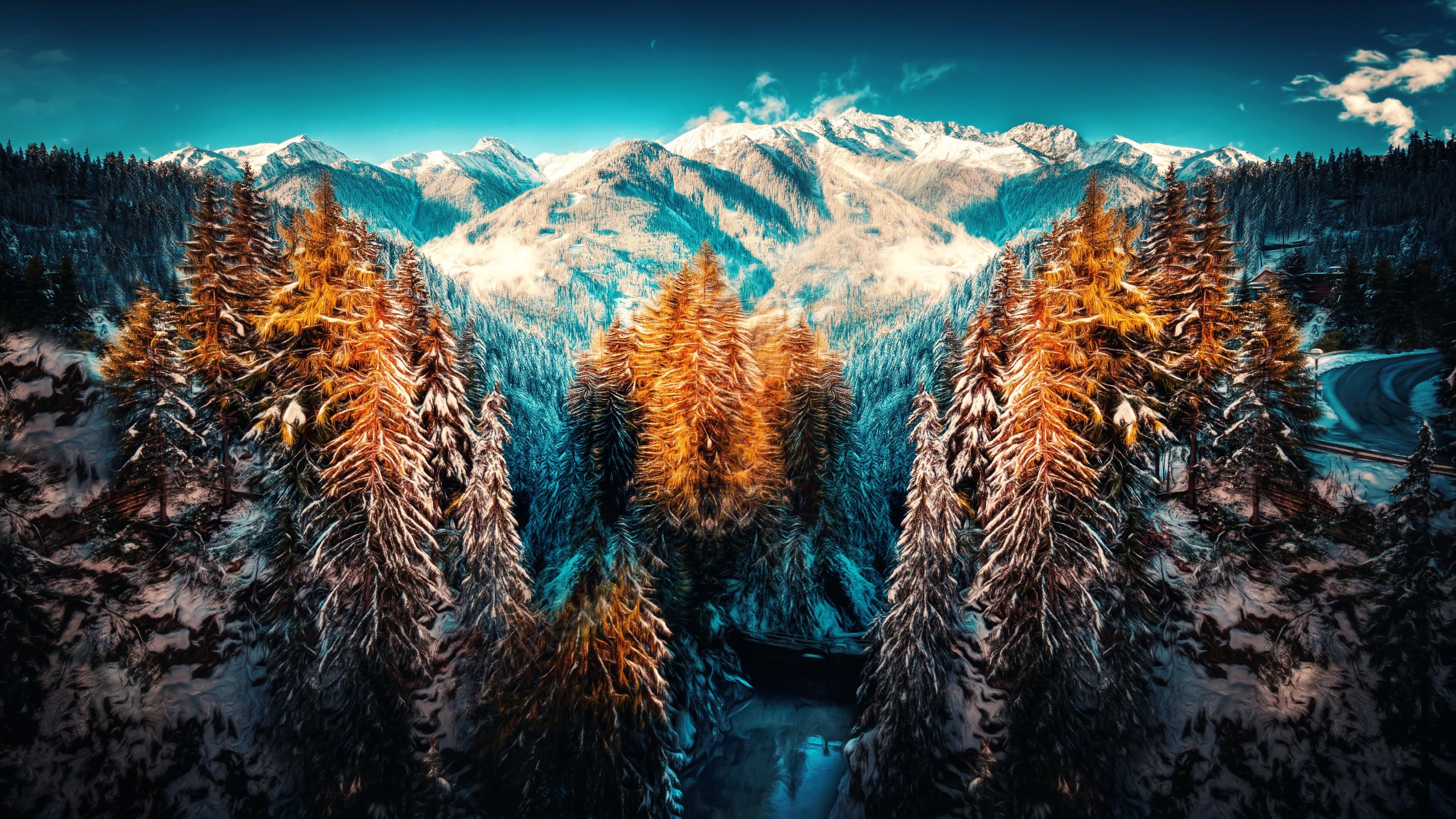 snow landscape mountains trees forest 4k 1540141100 - Snow Landscape Mountains Trees Forest 4k - trees wallpapers, snow wallpapers, nature wallpapers, mountains wallpapers, landscape wallpapers, hd-wallpapers, forest wallpapers, 5k wallpapers, 4k-wallpapers