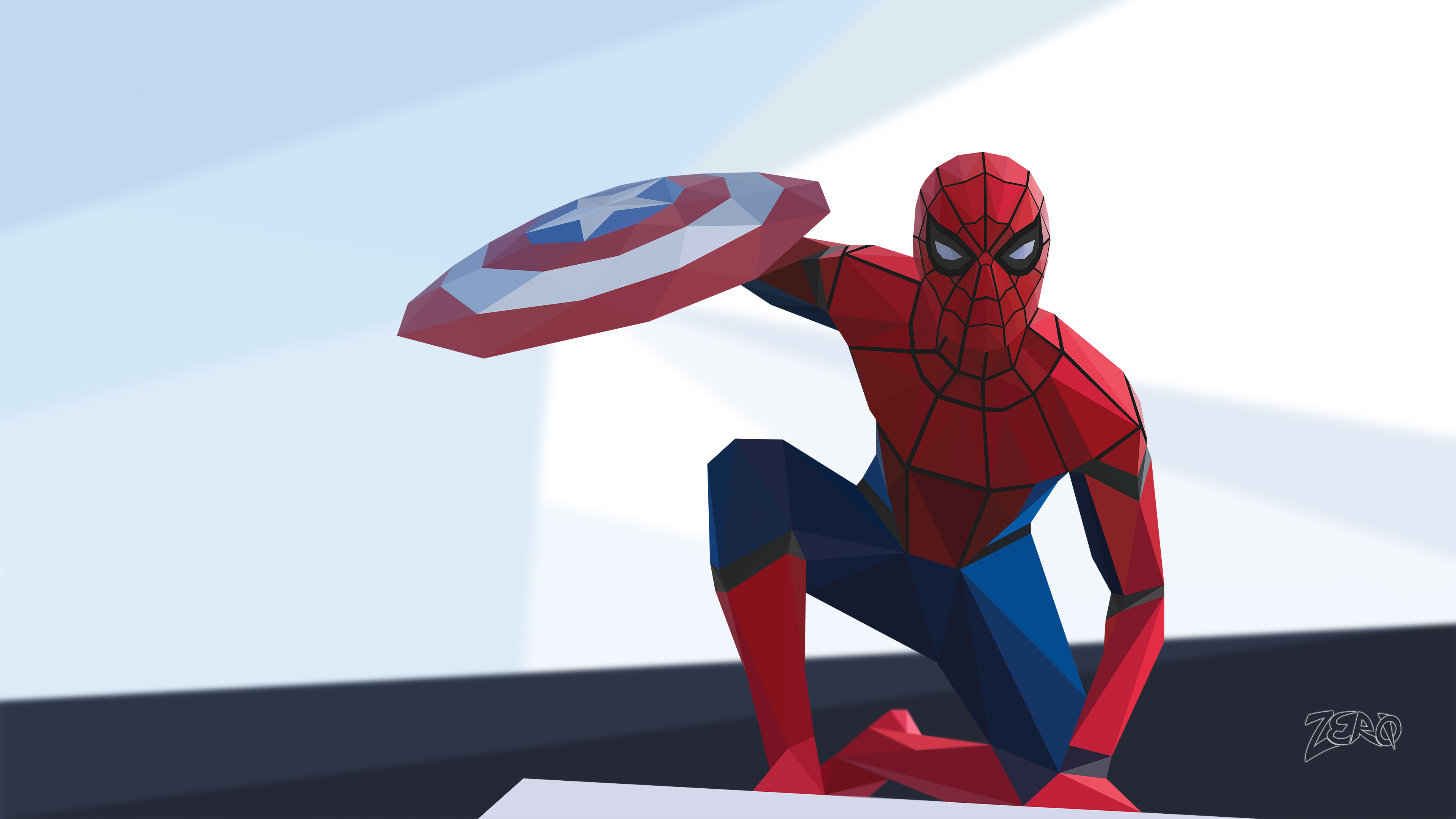spiderman civil war low poly 4k 1539978584 - Spiderman Civil War Low Poly 4k - superheroes wallpapers, spiderman wallpapers, hd-wallpapers, digital art wallpapers, deviantart wallpapers, artwork wallpapers, artist wallpapers, 4k-wallpapers