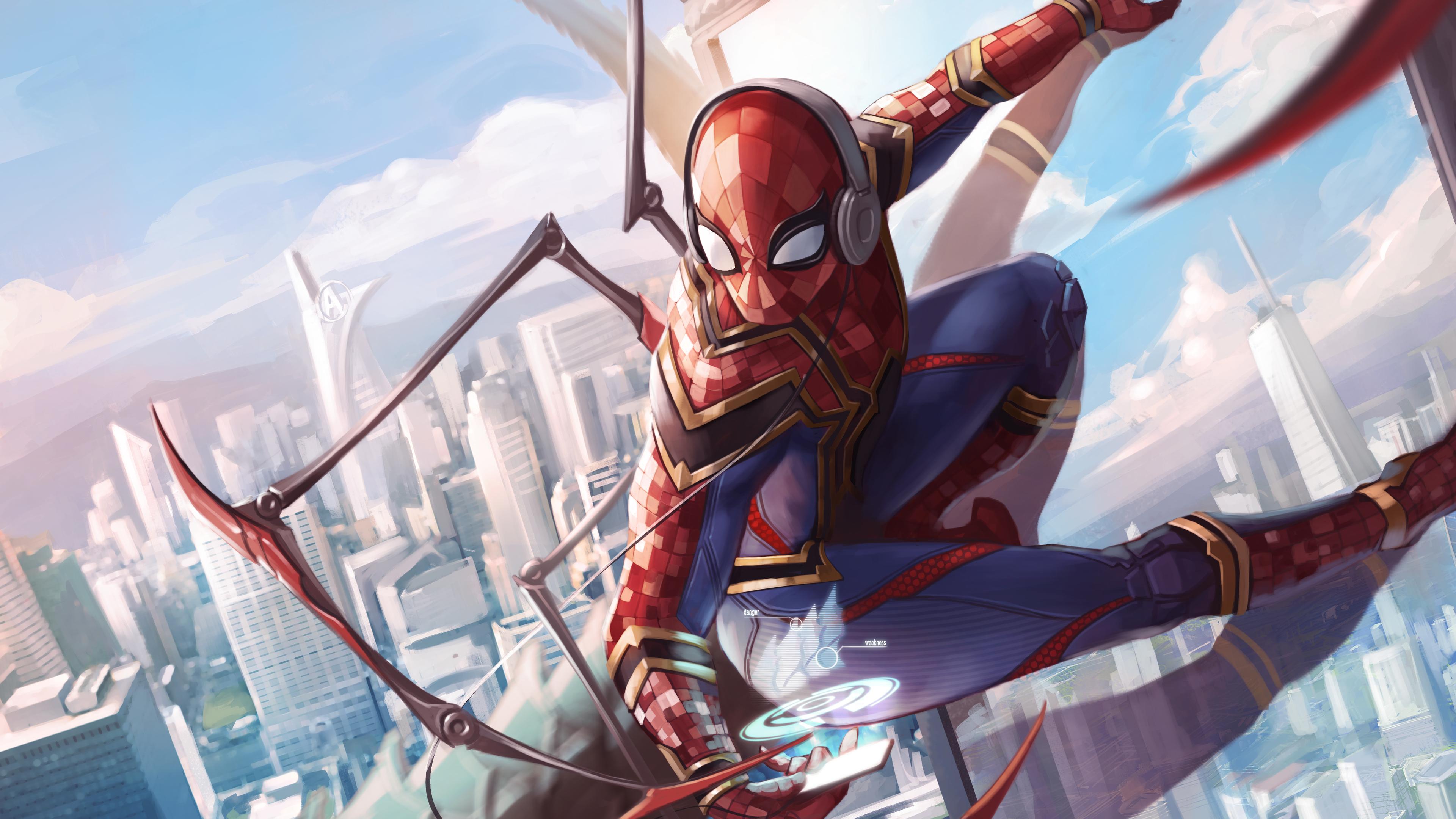 Wallpaper 4k Spiderman Iron Suit Art 5k 4k Wallpapers 5k Wallpapers
