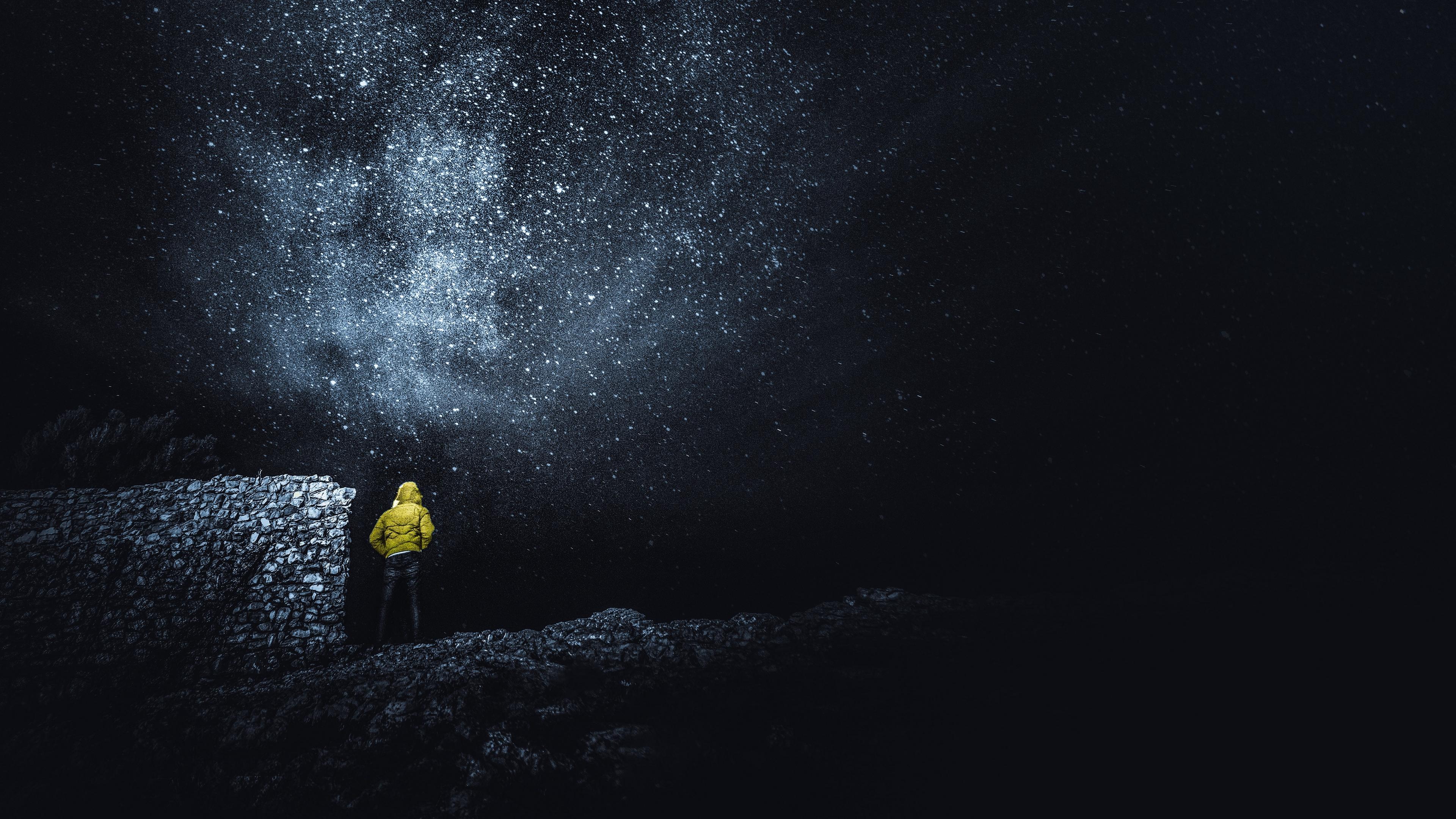 starry sky man night stars radiance sky 4k 1540575375 - starry sky, man, night, stars, radiance, sky 4k - starry sky, Night, Man