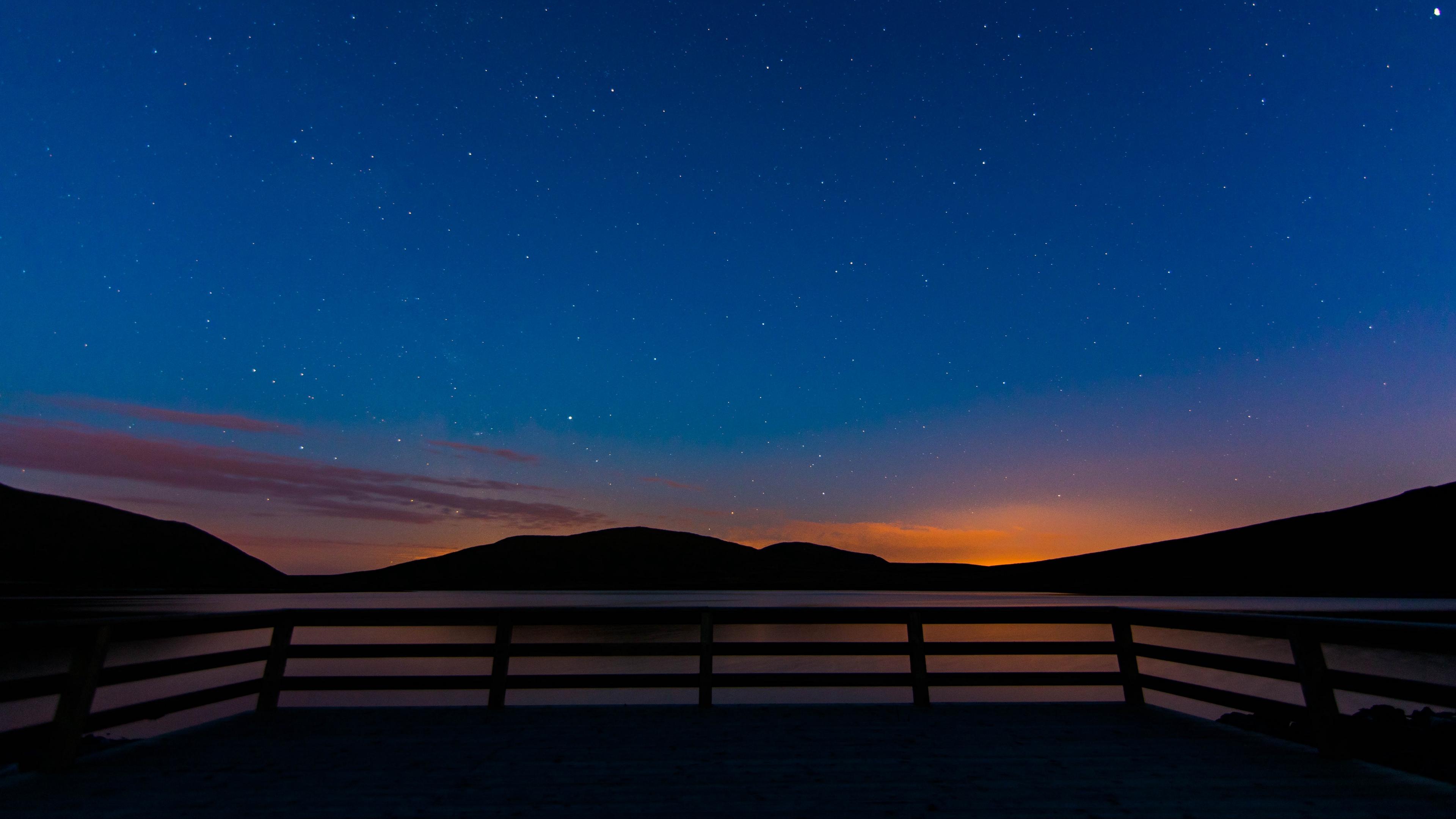 starry sky railing stars mountains 4k 1540574342 - starry sky, railing, stars, mountains 4k - Stars, starry sky, railing