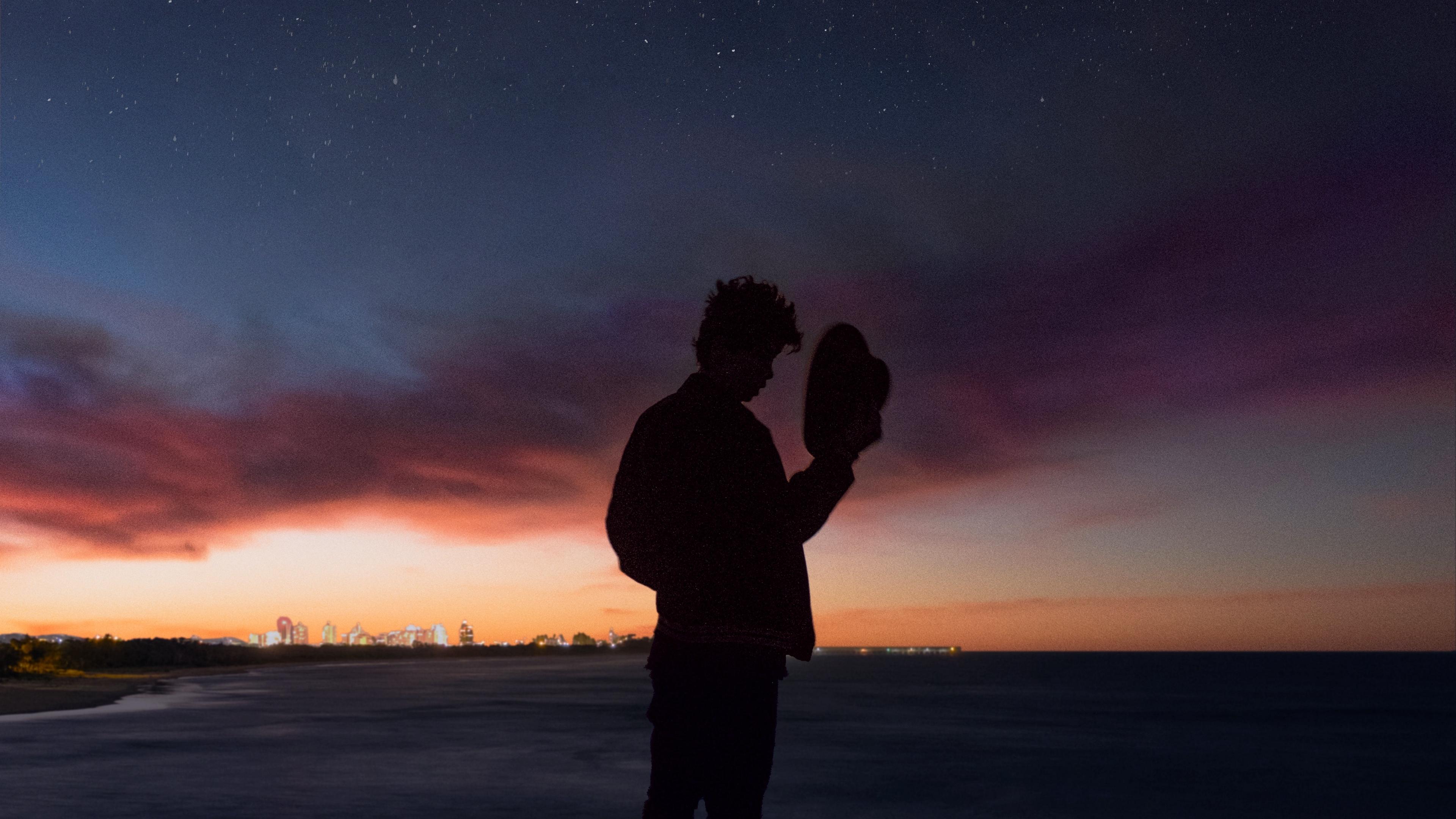 starry sky silhouette alone solitude hat horizon 4k 1540576332 - starry sky, silhouette, alone, solitude, hat, horizon 4k - starry sky, Silhouette, Alone