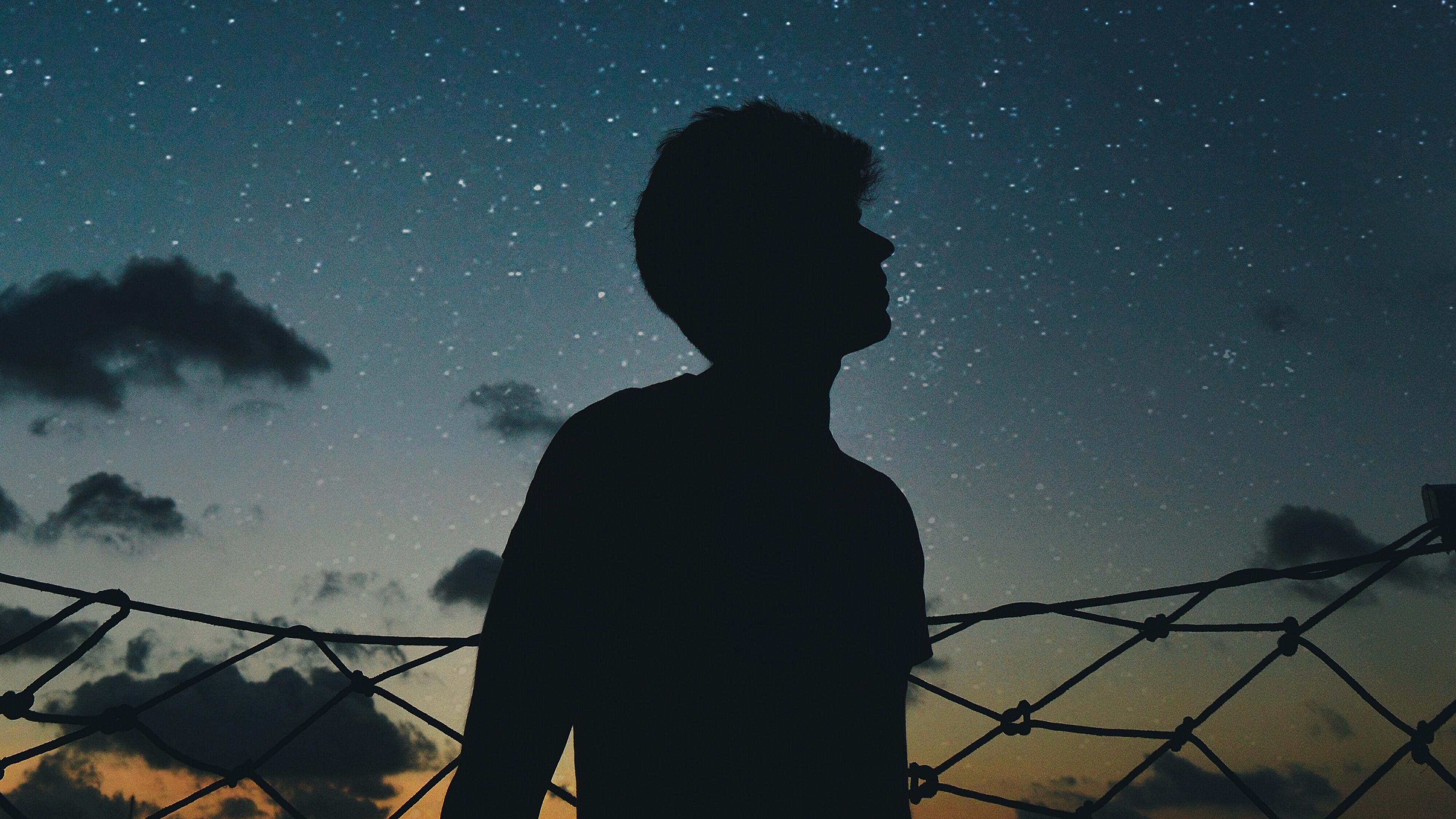 starry sky silhouette loneliness 4k 1540575919 - starry sky, silhouette, loneliness 4k - starry sky, Silhouette, loneliness