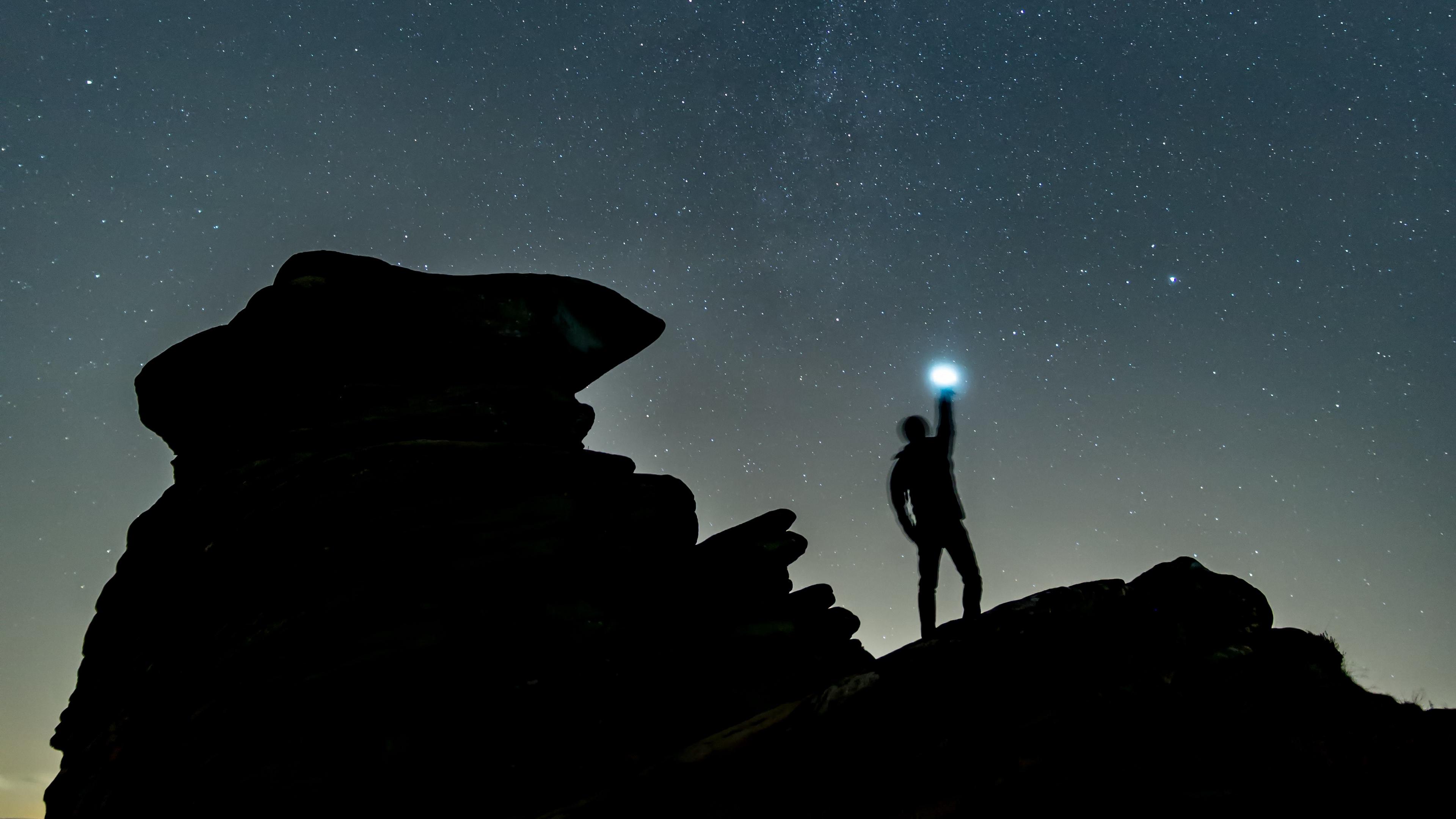 starry sky silhouette spectral rocks 4k 1540574887 - starry sky, silhouette, spectral, rocks 4k - starry sky, spectral, Silhouette