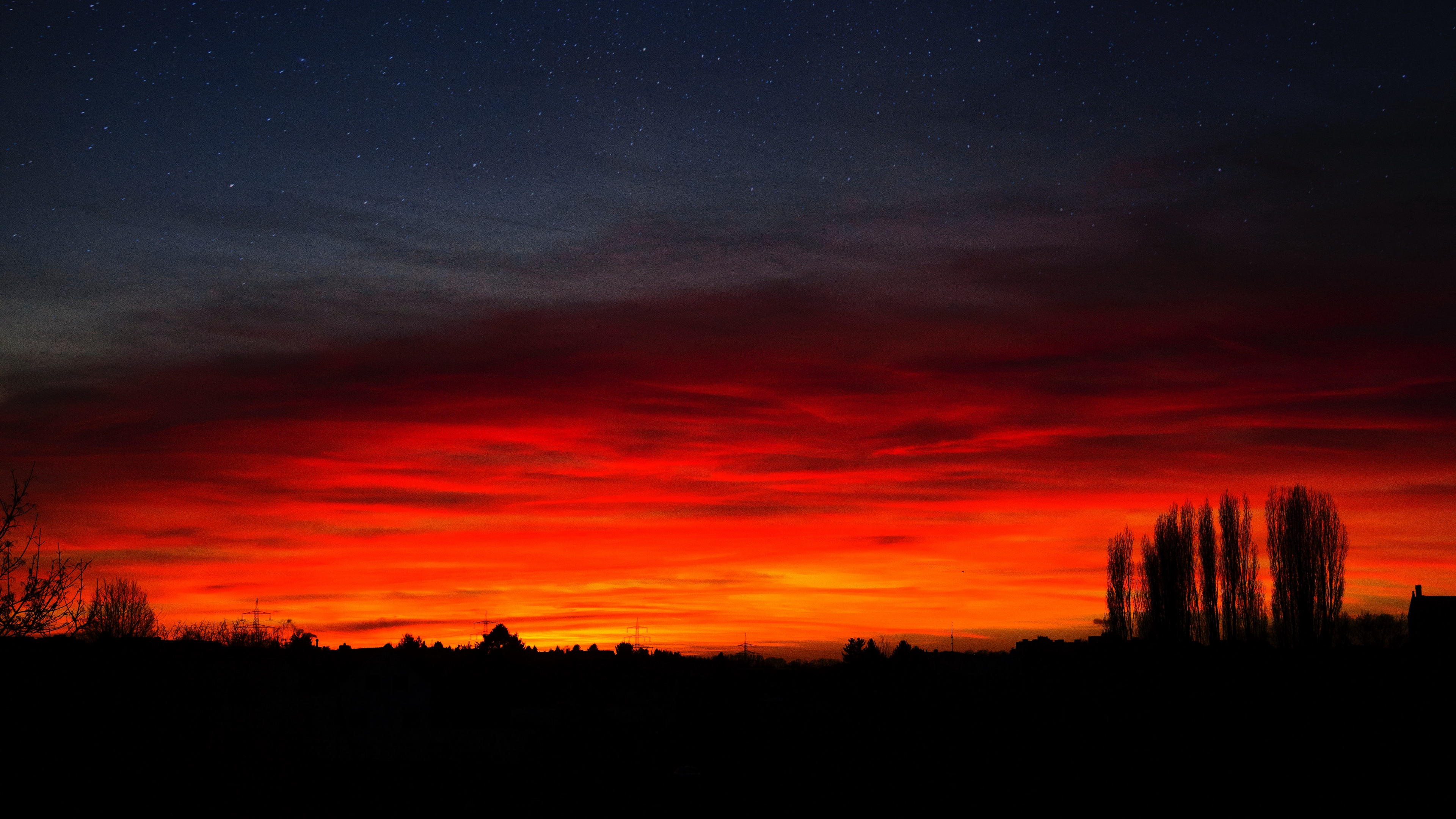 sunset horizon night starry sky mainz germany 4k 1540575299 - sunset, horizon, night, starry sky, mainz, germany 4k - sunset, Night, Horizon