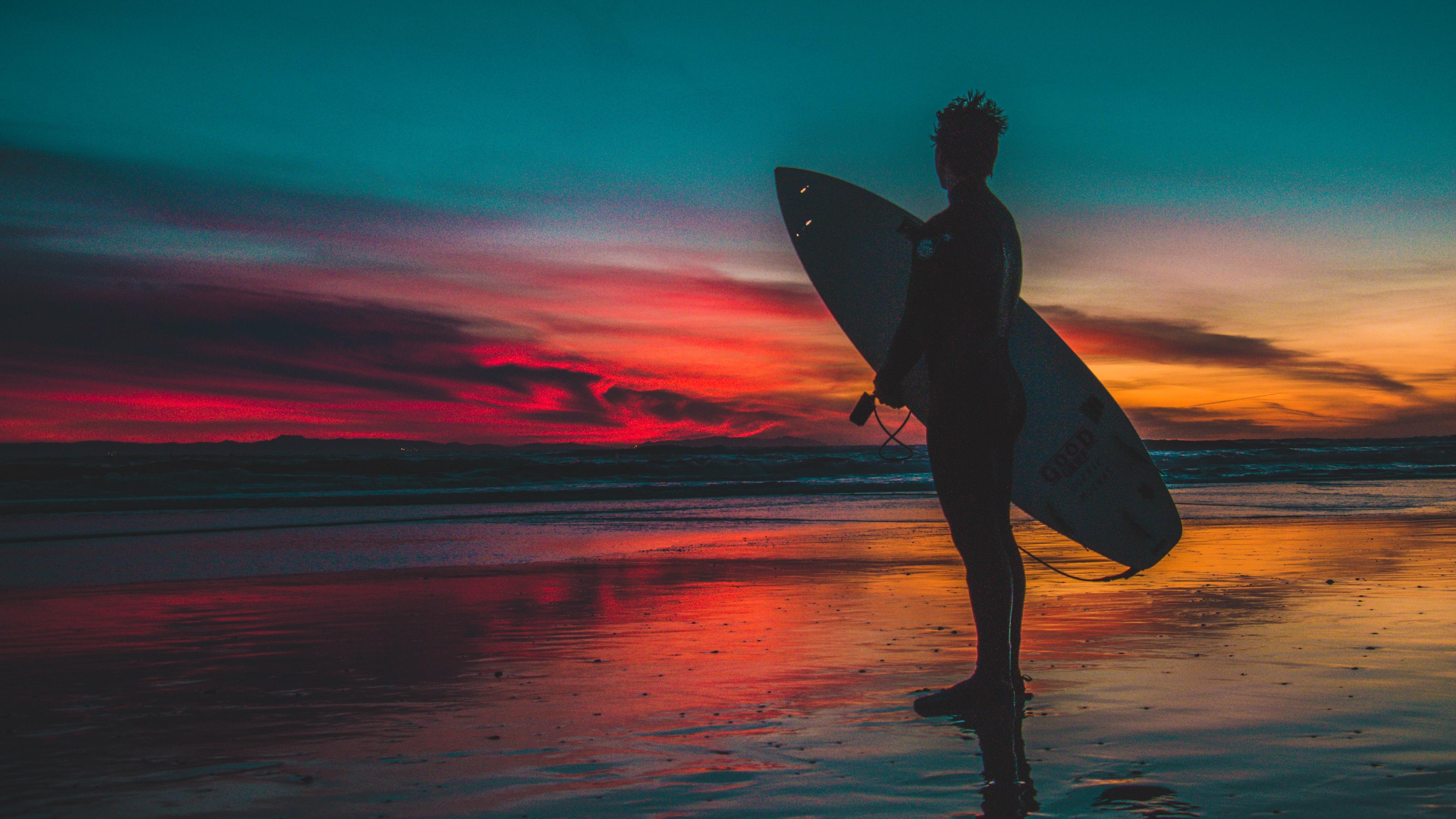 surfer surfing shore sunset twilight 4k 1540063431 - surfer, surfing, shore, sunset, twilight 4k - Surfing, Surfer, Shore
