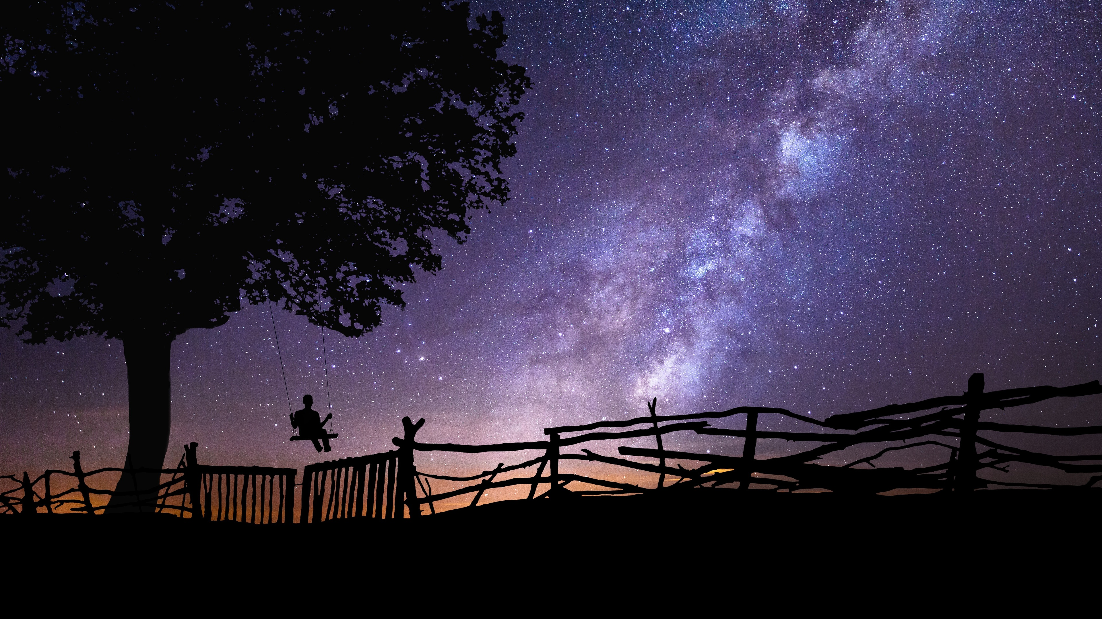 swing with the stars in the sky 4k 1540135360 - Swing With The Stars In The Sky 4k - swing wallpapers, stars wallpapers, sky wallpapers, nature wallpapers, hd-wallpapers, galaxy wallpapers, 5k wallpapers, 4k-wallpapers