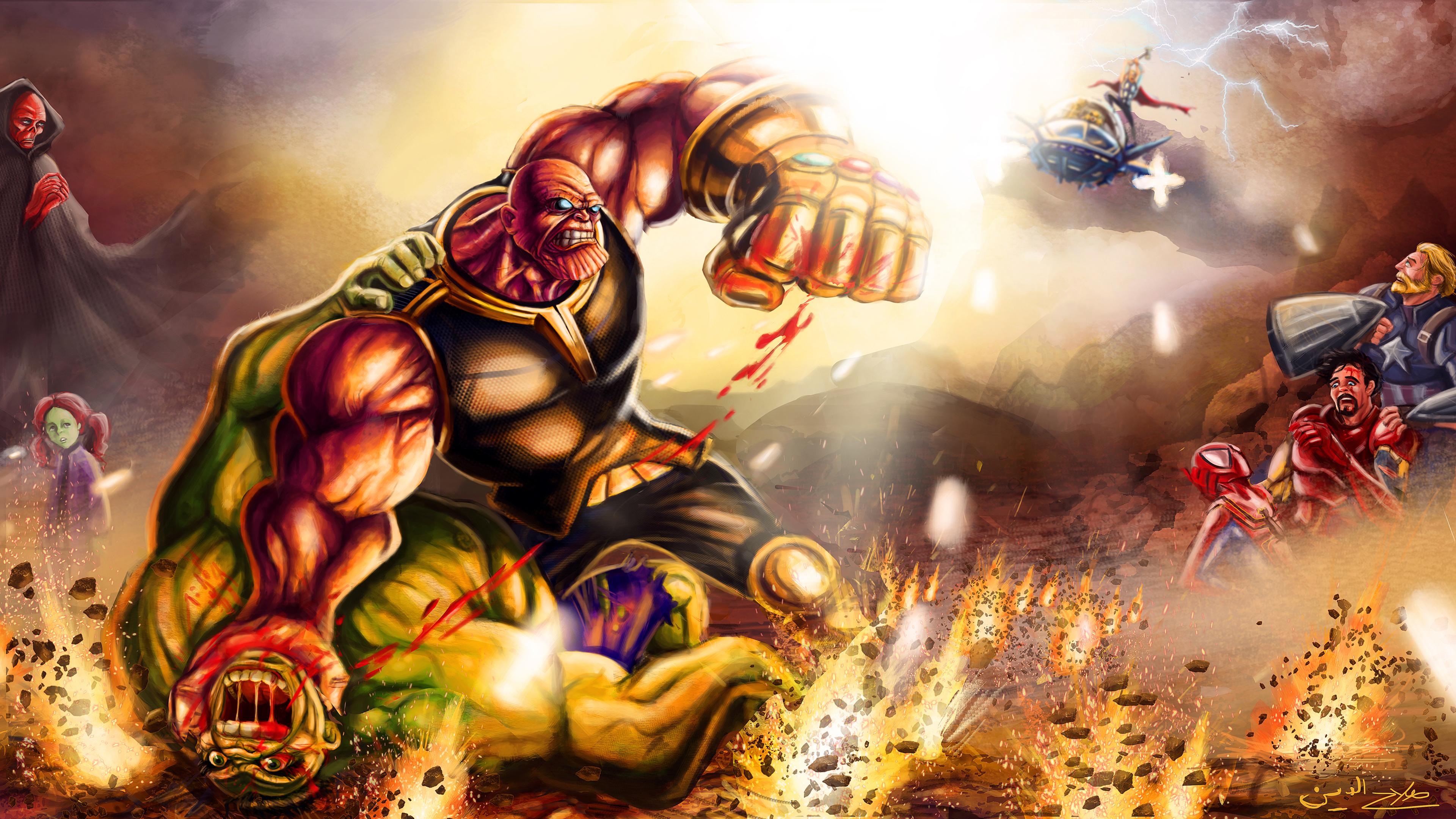 thanos defeat hulk 1539452788 - Thanos Defeat Hulk - thanos-wallpapers, superheroes wallpapers, hulk wallpapers, hd-wallpapers, behance wallpapers, artwork wallpapers, artist wallpapers, 4k-wallpapers
