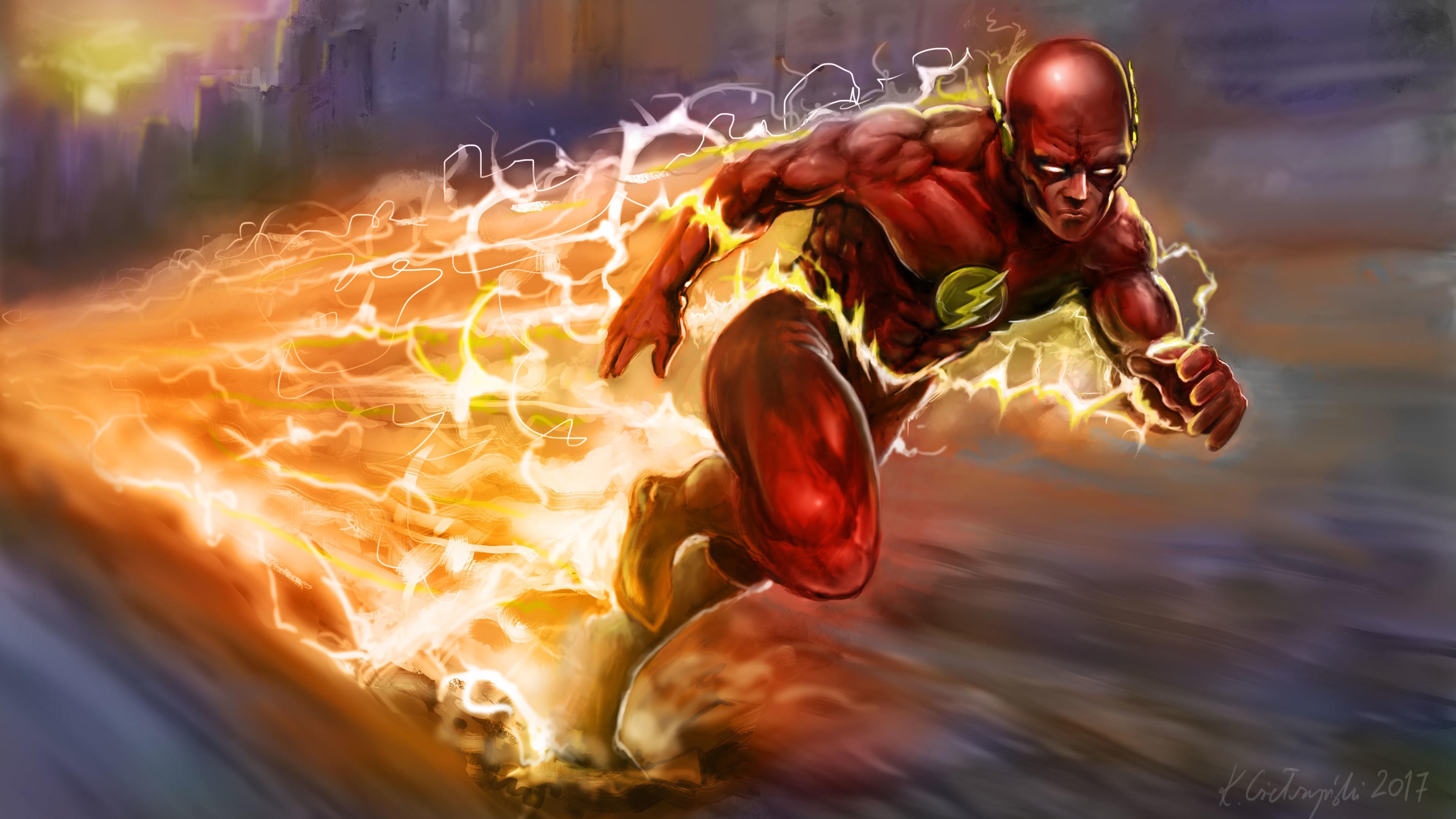 the flash running artwork 4k 1540756232 - The Flash Running Artwork 4k - superheroes wallpapers, hd-wallpapers, flash wallpapers, digital art wallpapers, deviantart wallpapers, artwork wallpapers, artist wallpapers, 4k-wallpapers