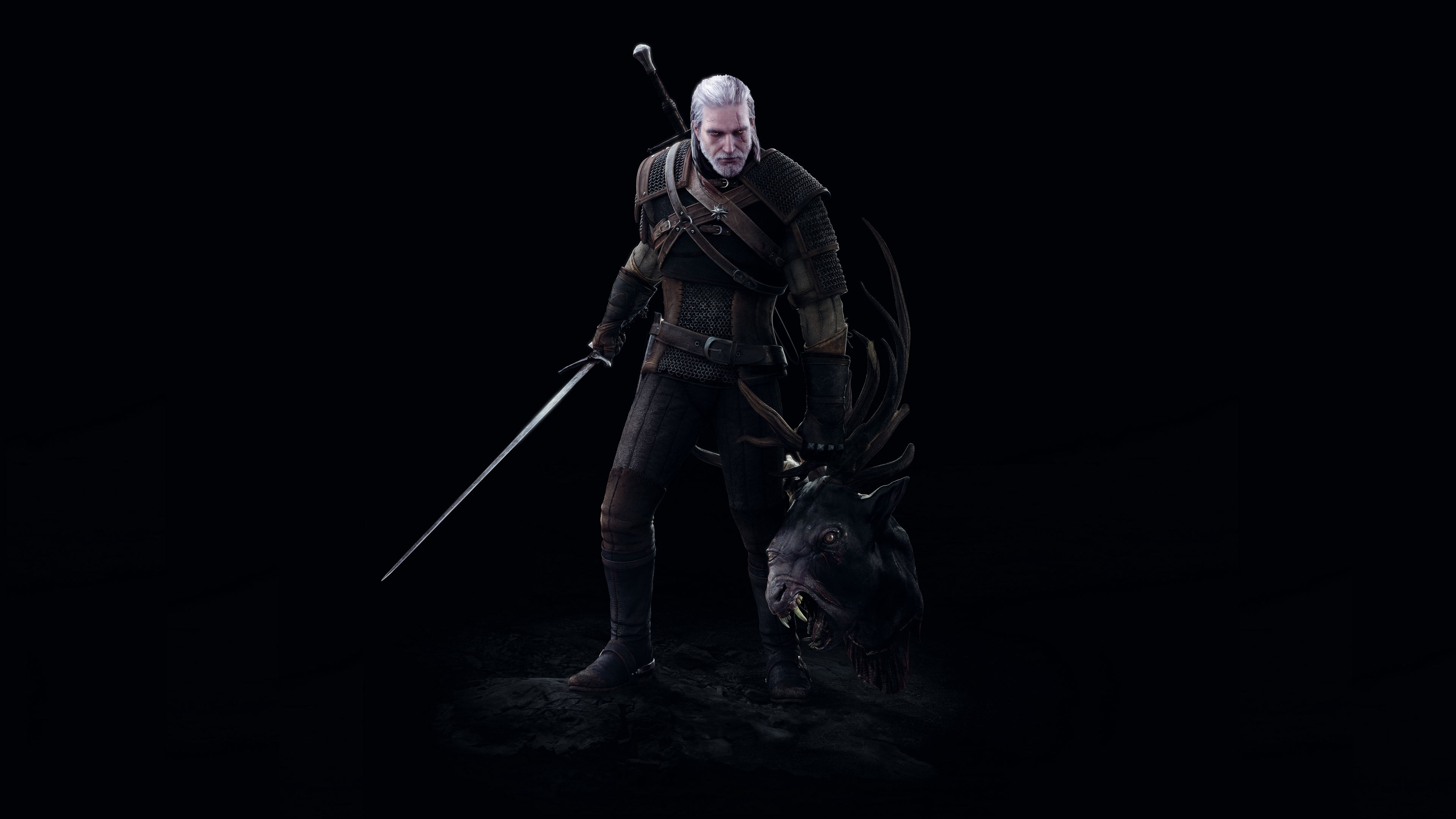 Wallpaper 4k The Witcher 3 Wild Hunt Geralt Battle Head Art 4k