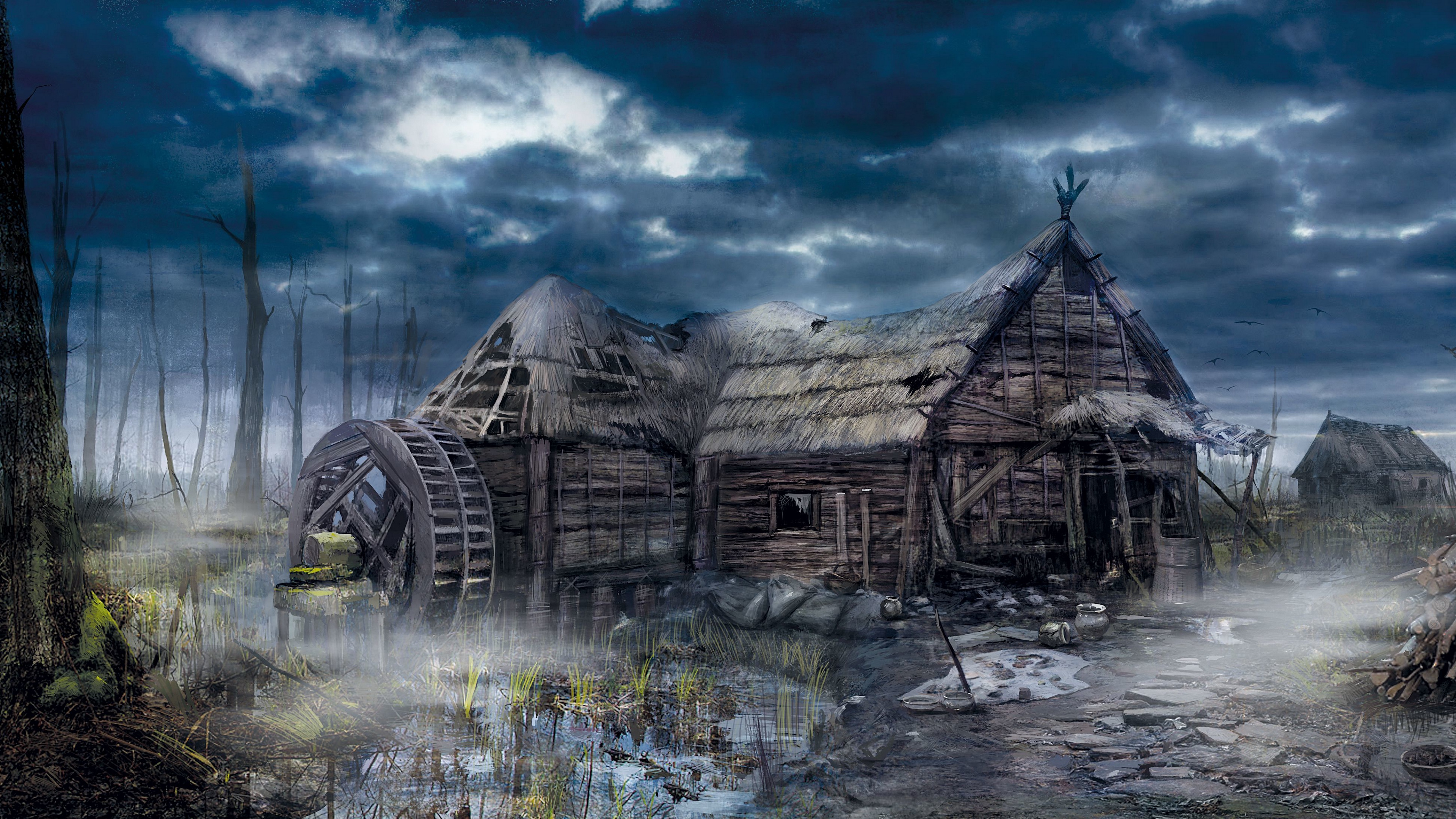 the witcher 3 wild hunt village house art 4k 1538944988 - the witcher 3, wild hunt, village, house, art 4k - wild hunt, village, the witcher 3