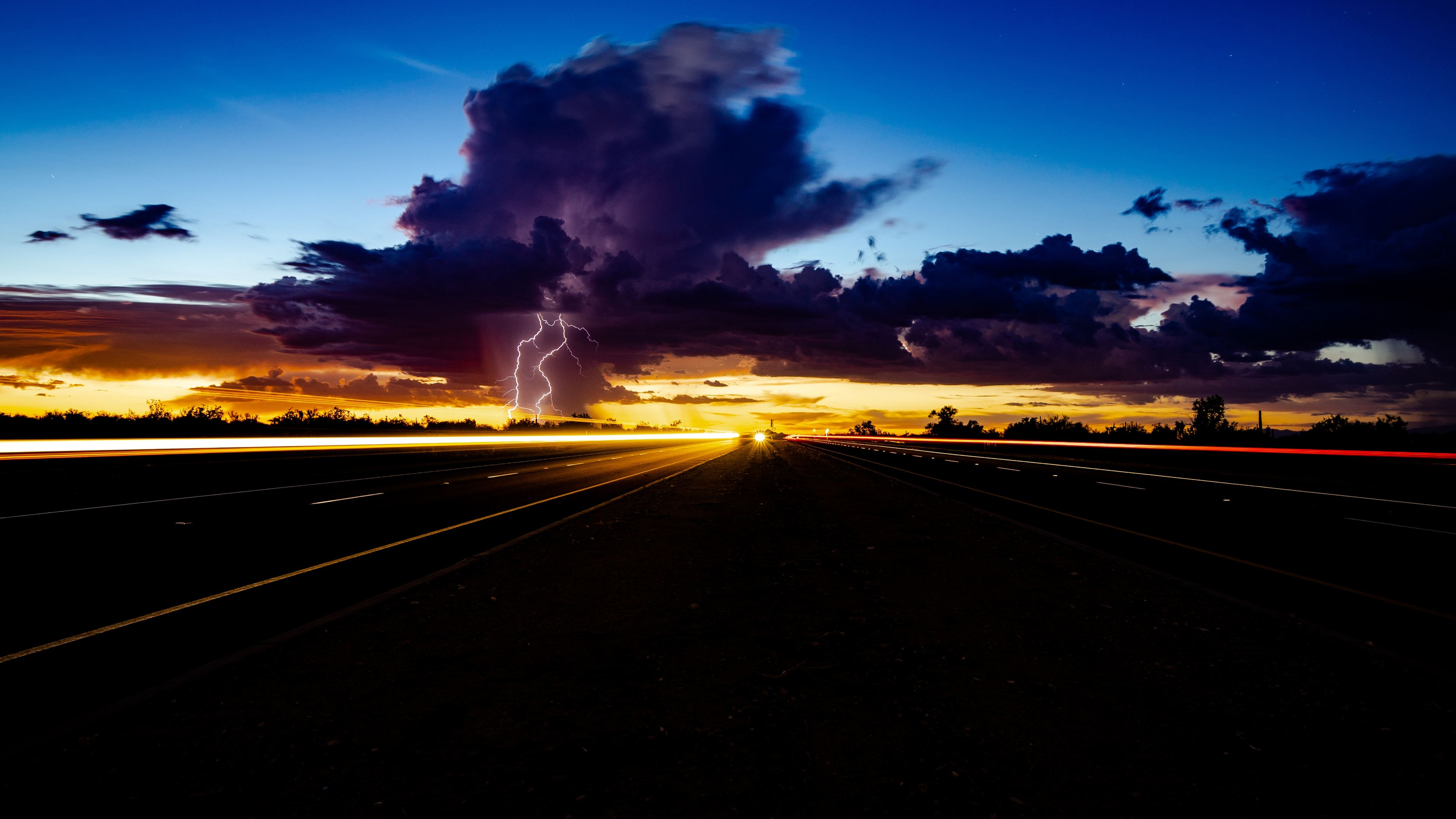 Thunder Storm Lightning Highway Light Trails 4k