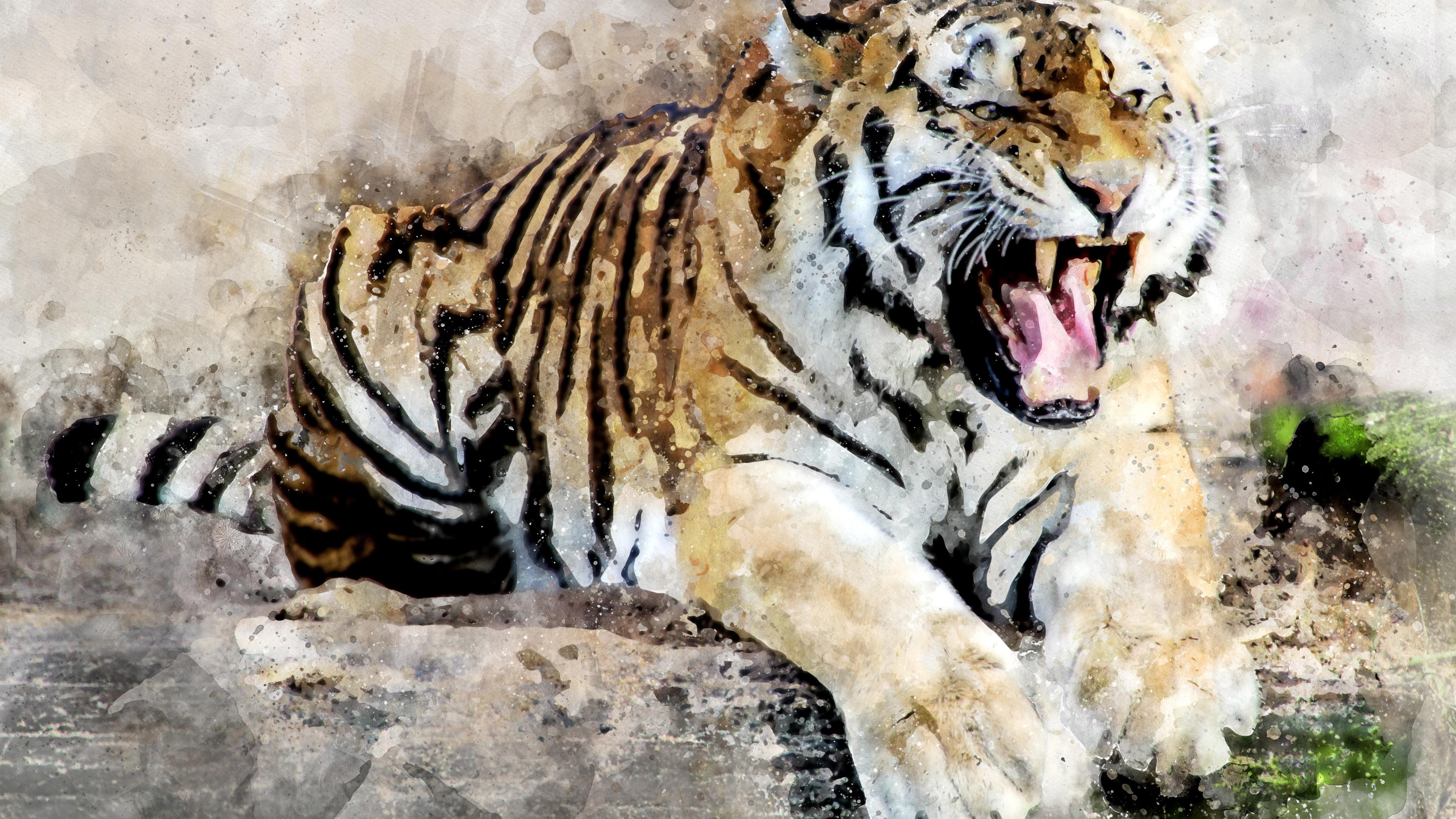 tiger abstract art 4k 1540749989 - Tiger Abstract Art 4k - tiger wallpapers, roar wallpapers, hd-wallpapers, digital art wallpapers, artwork wallpapers, artist wallpapers, animals wallpapers, abstract wallpapers, 4k-wallpapers