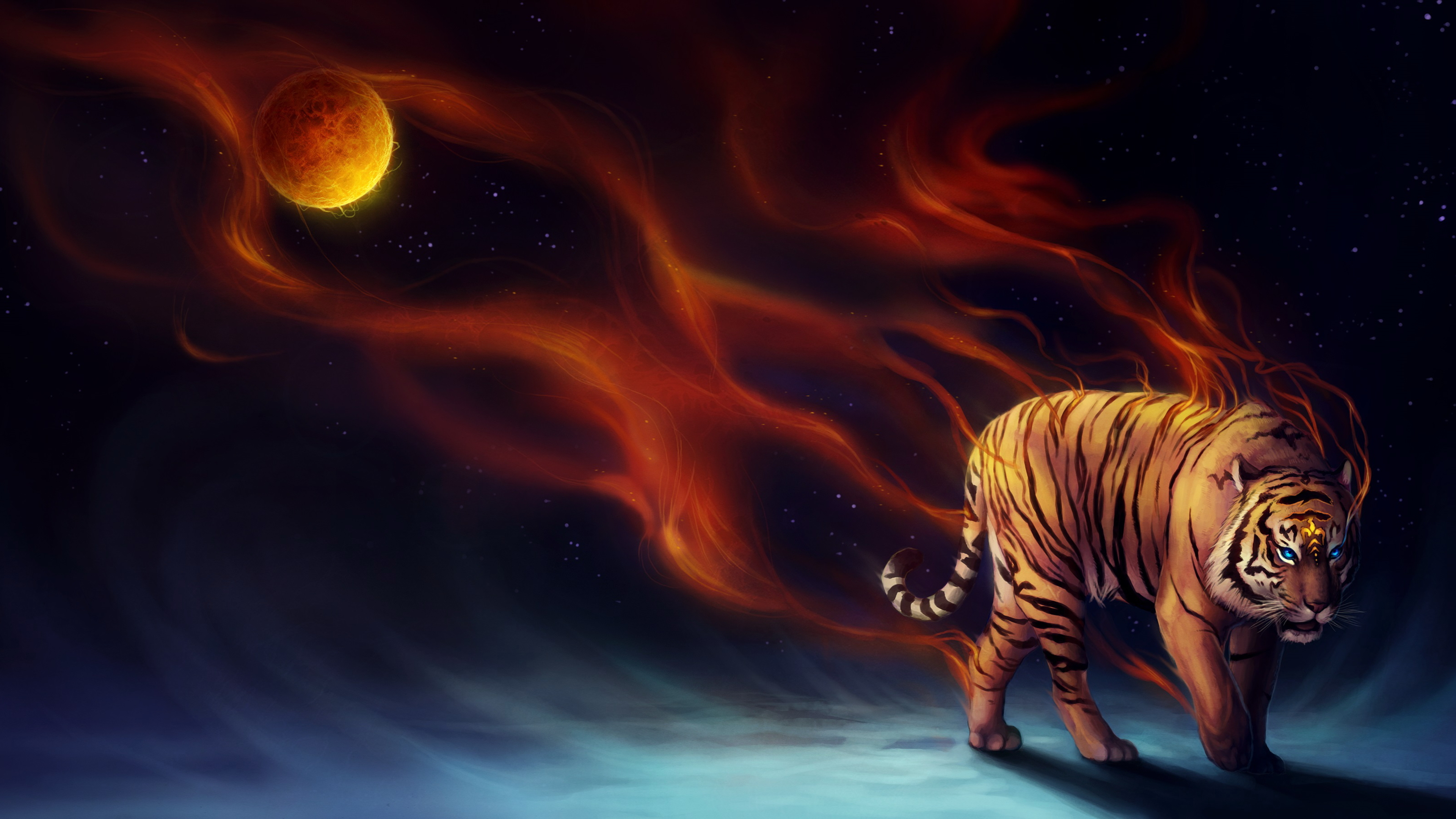 Wallpaper 4k Tiger Fantasy Magical Flame 4k 4k Wallpapers Animals