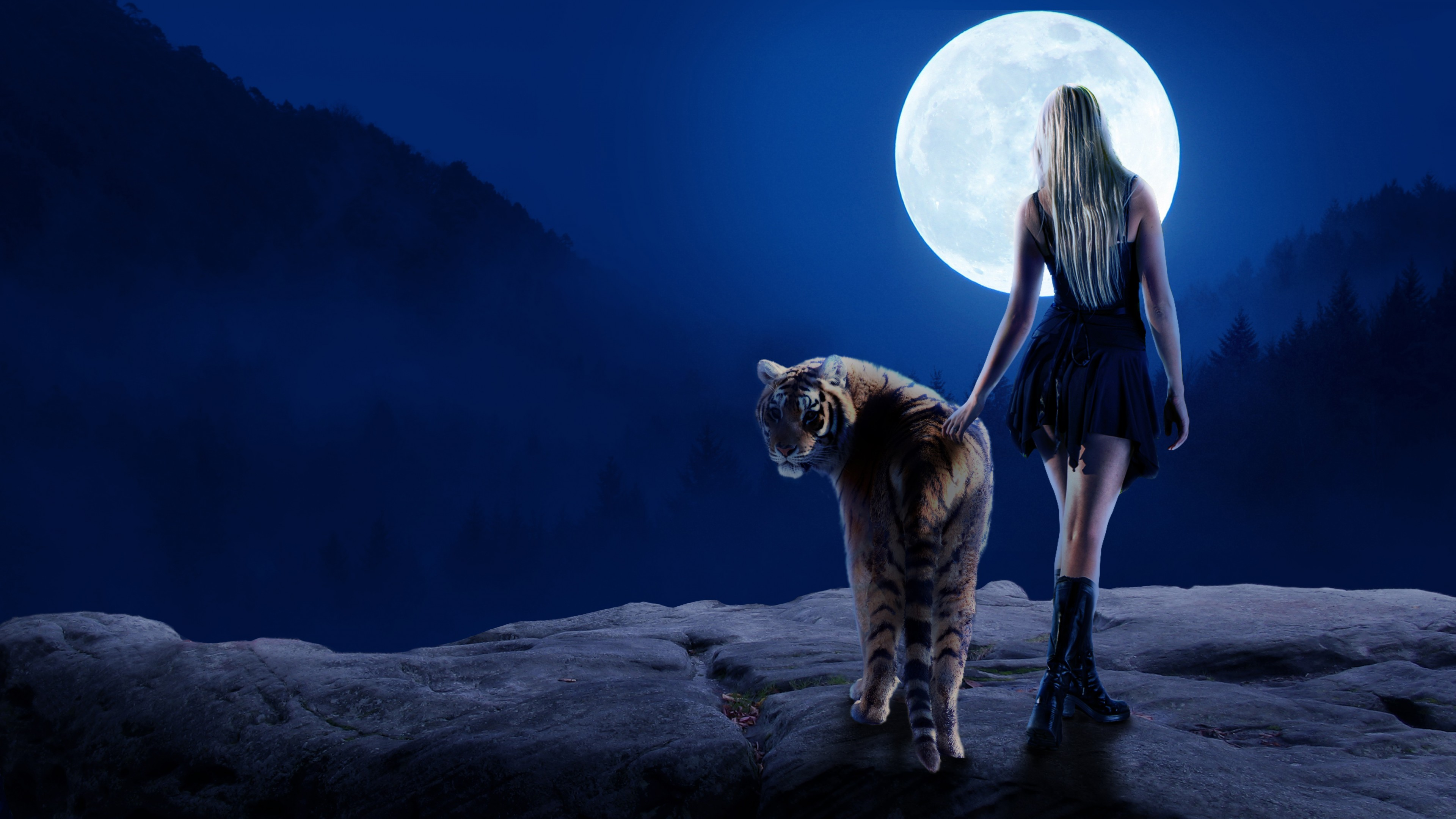 tiger girl moon 4k 1540755656 - Tiger Girl Moon 4k - tiger wallpapers, moon wallpapers, hd-wallpapers, girl wallpapers, artist wallpapers, 4k-wallpapers