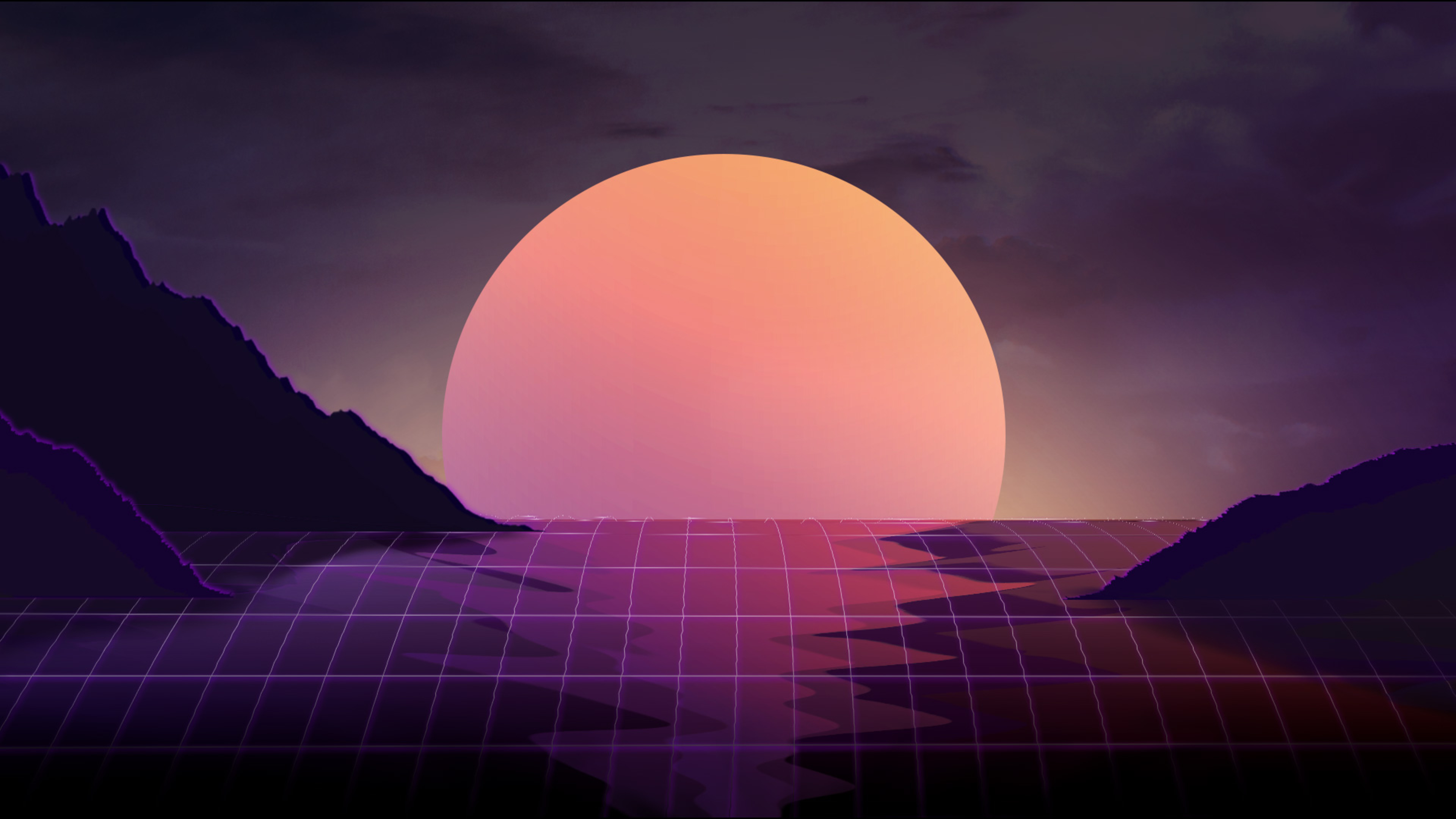 vapor wave sunset 4k 1540751389 - Vapor Wave Sunset 4k - wave wallpapers, sunset wallpapers, minimalism wallpapers, hd-wallpapers, digital art wallpapers, artwork wallpapers, artist wallpapers, 5k wallpapers, 4k-wallpapers