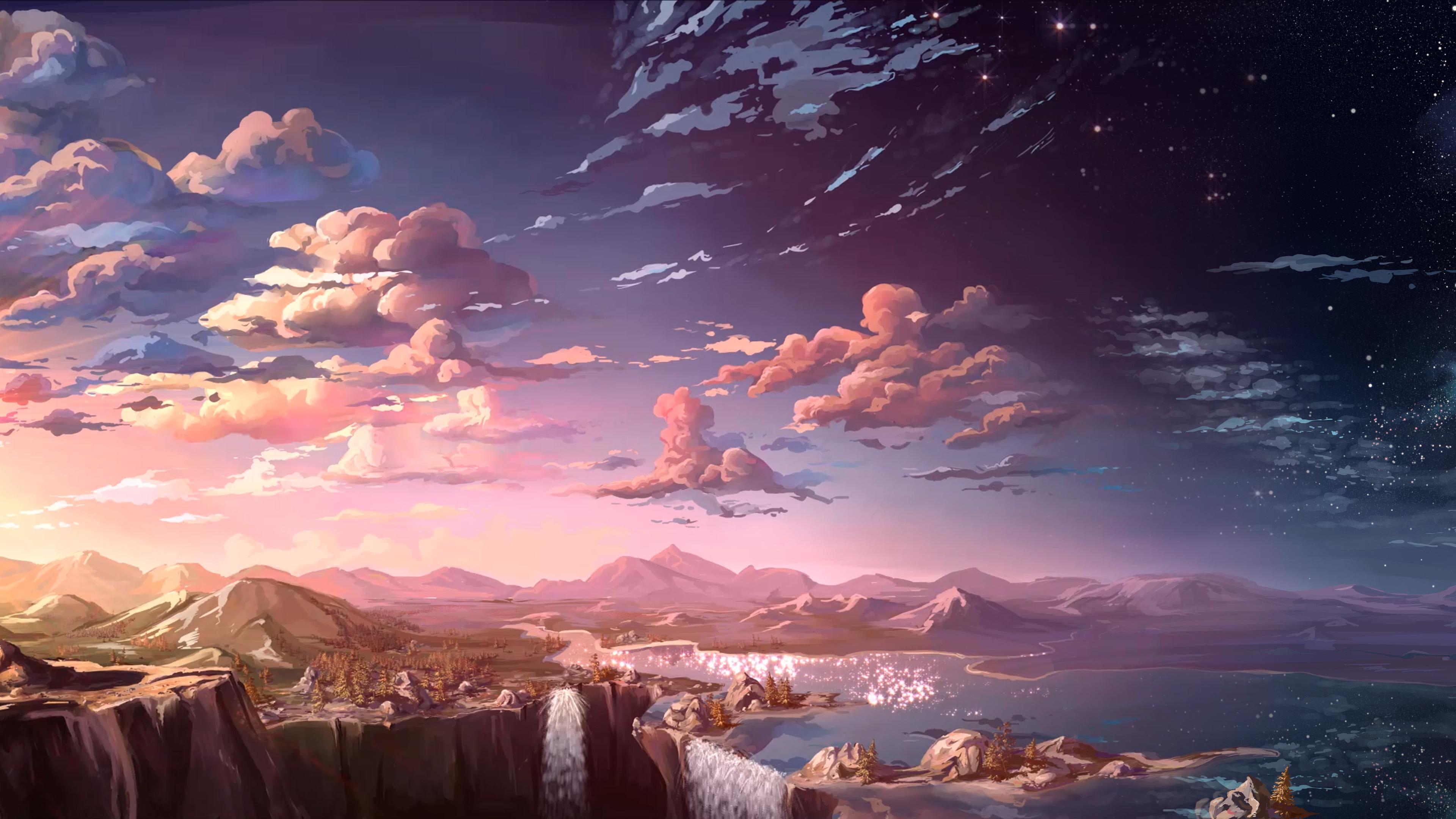 waterfall sunset landscape artist 4k 1540751476 - Waterfall Sunset Landscape Artist 4k - waterfall wallpapers, sunset wallpapers, landscape wallpapers, hd-wallpapers, digital art wallpapers, artwork wallpapers, artist wallpapers, 5k wallpapers, 4k-wallpapers