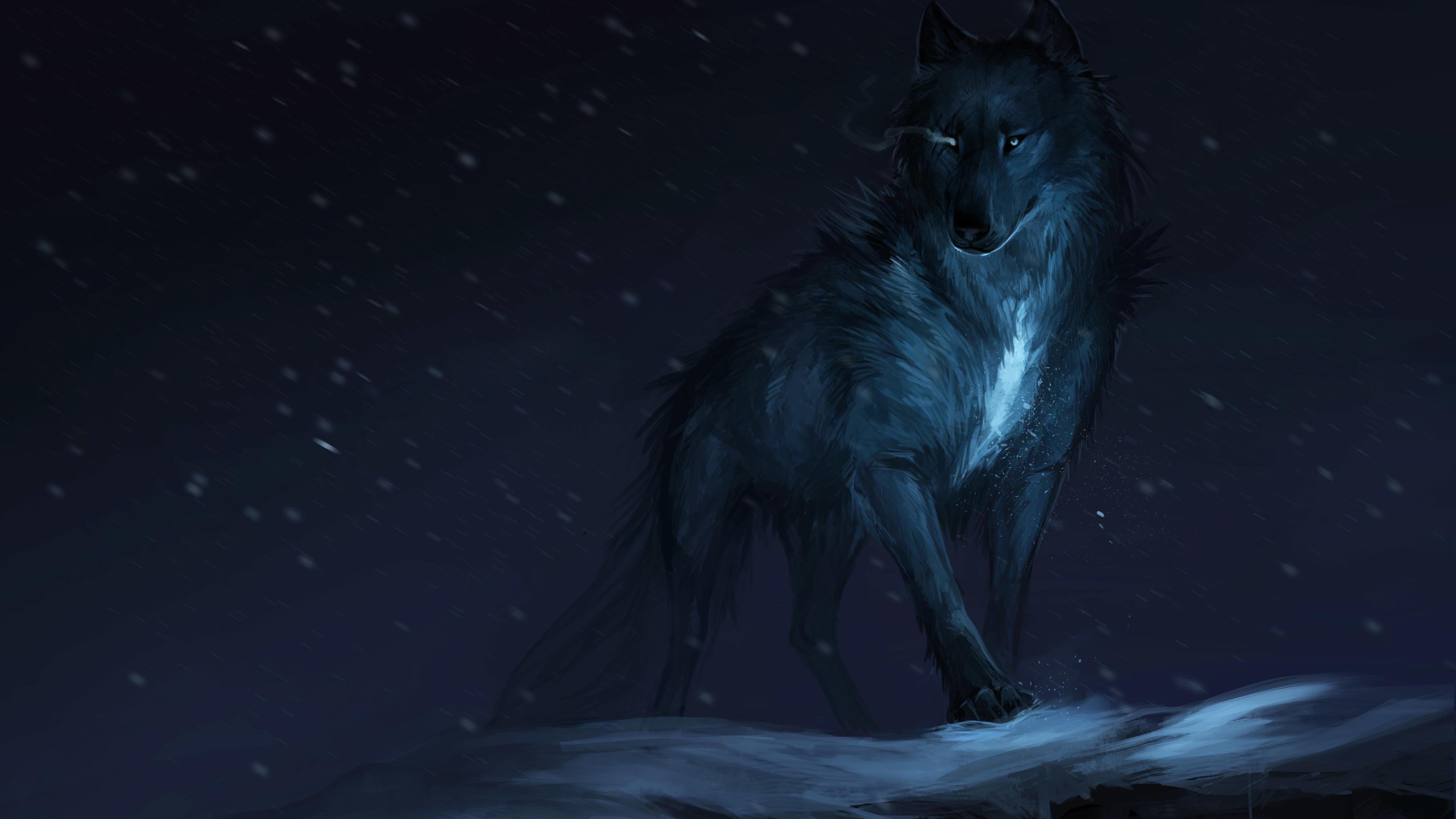 Wallpaper 4k Wolf Drawing 4k artist ...