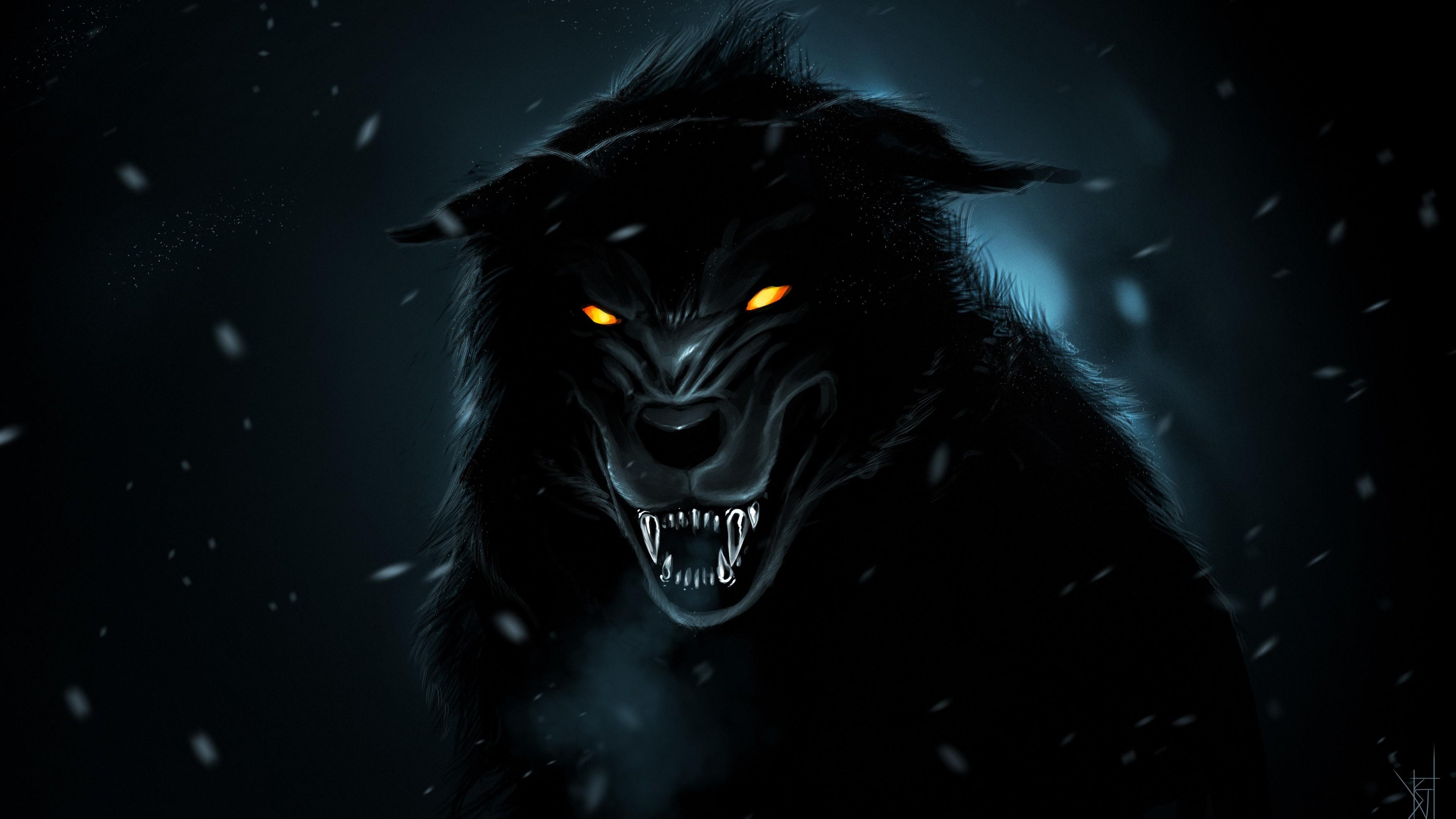 Orange Wolf Drawing Wolf Orange Eyes 4k wo...