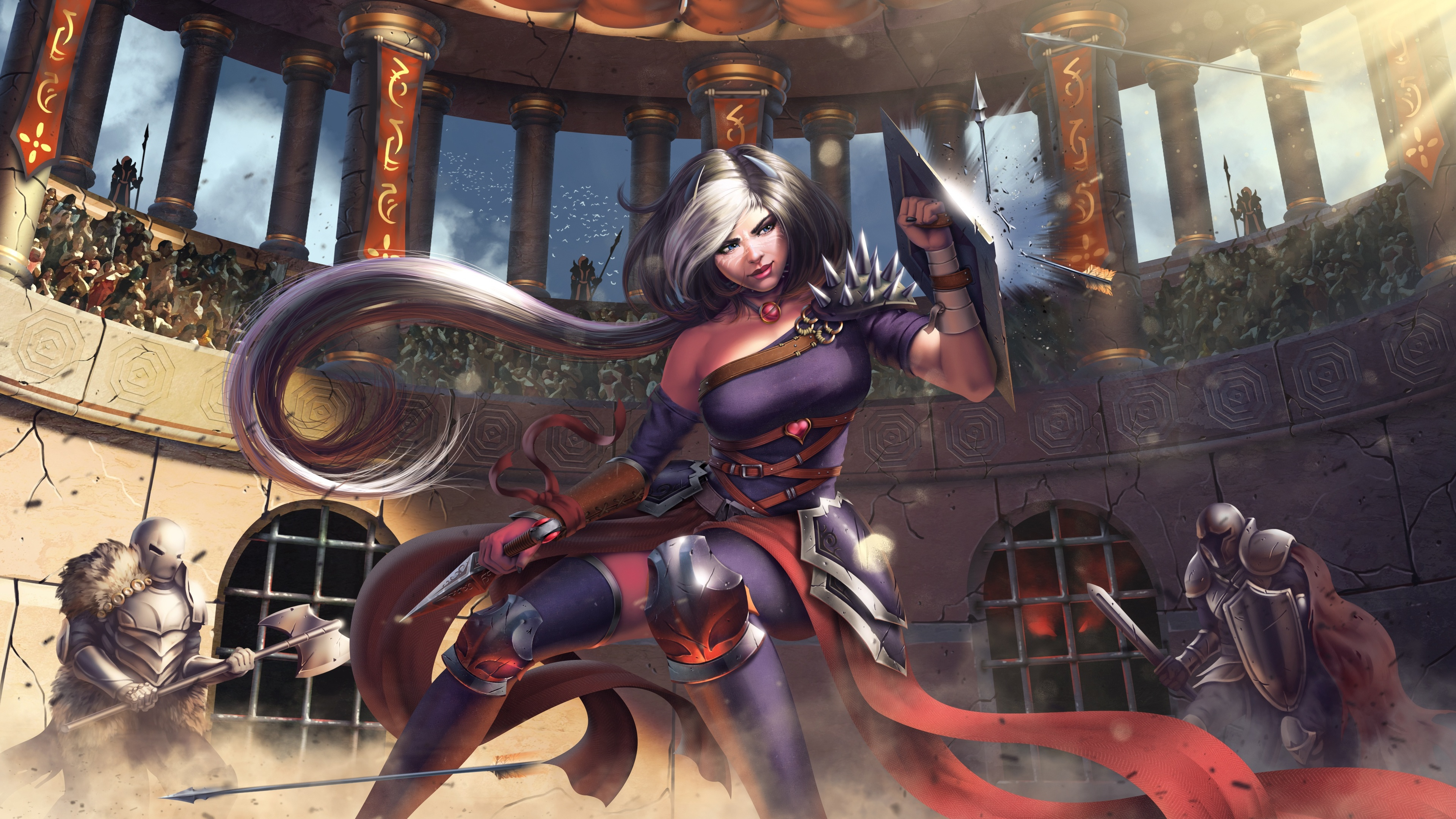 woman warrior fighting against knight 1540751721 - Woman Warrior Fighting Against Knight - warrior wallpapers, knight wallpapers, hd-wallpapers, artwork wallpapers, artist wallpapers, 4k-wallpapers