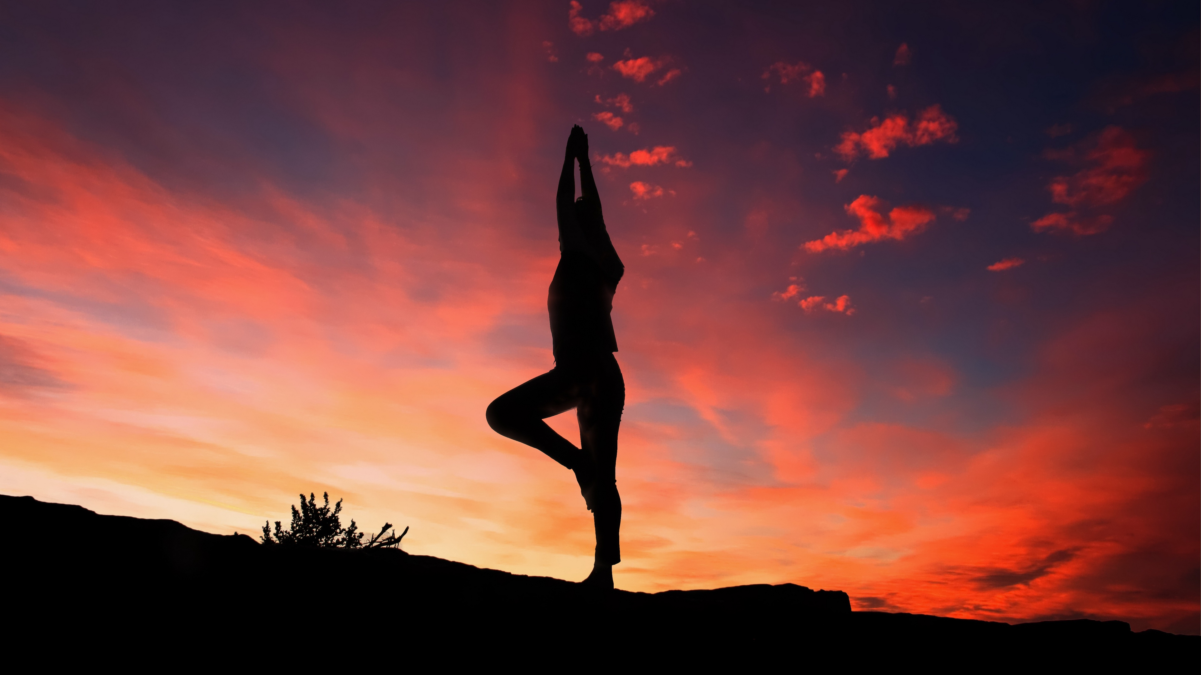 yoga silhouette sunset man 4k 1540063257 - yoga, silhouette, sunset, man 4k - yoga, sunset, Silhouette