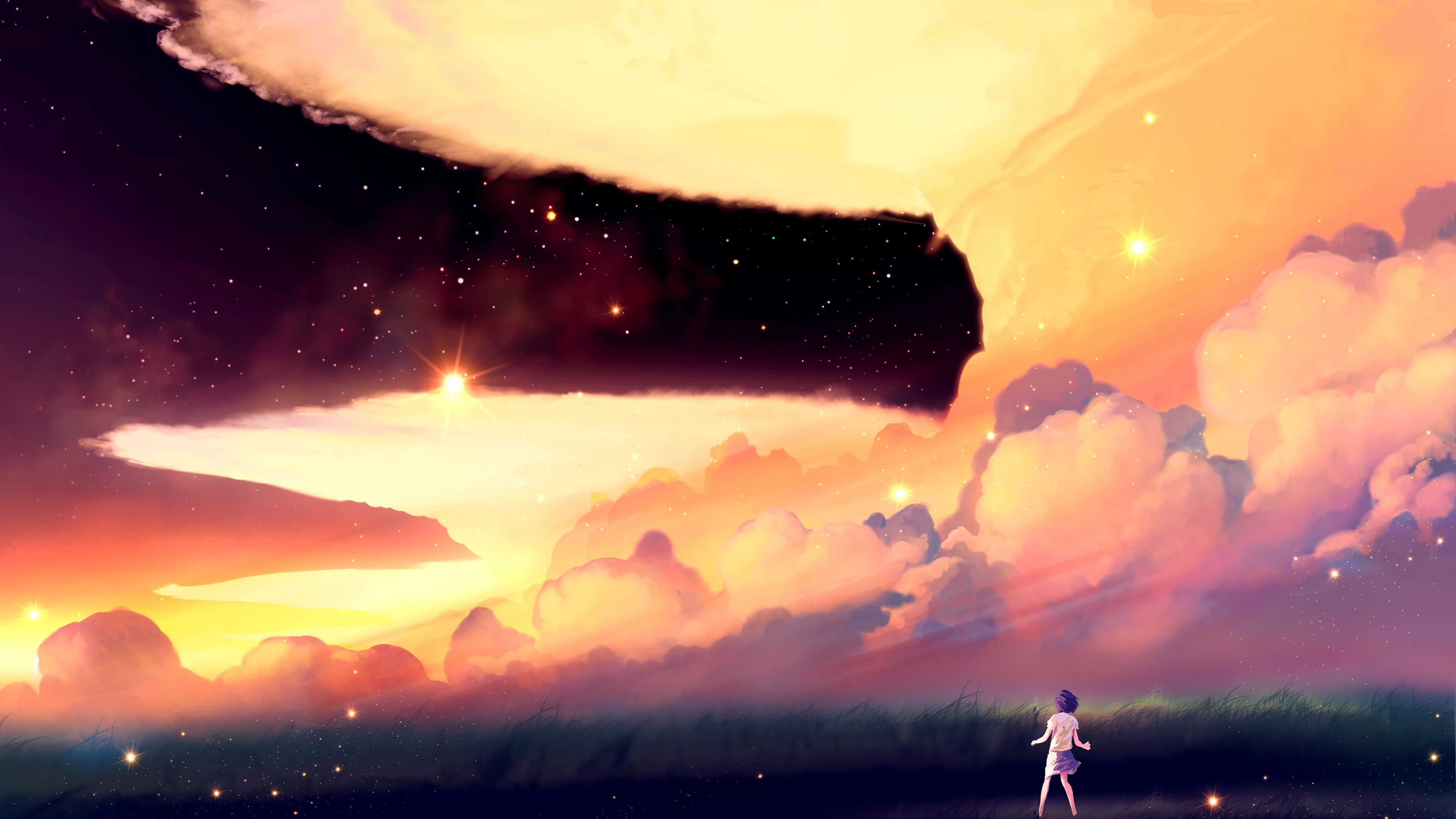 akio bako anime sunset girl clouds 4k 1541976032 - akio bako, anime, sunset, girl, clouds 4k - sunset, Anime, akio bako