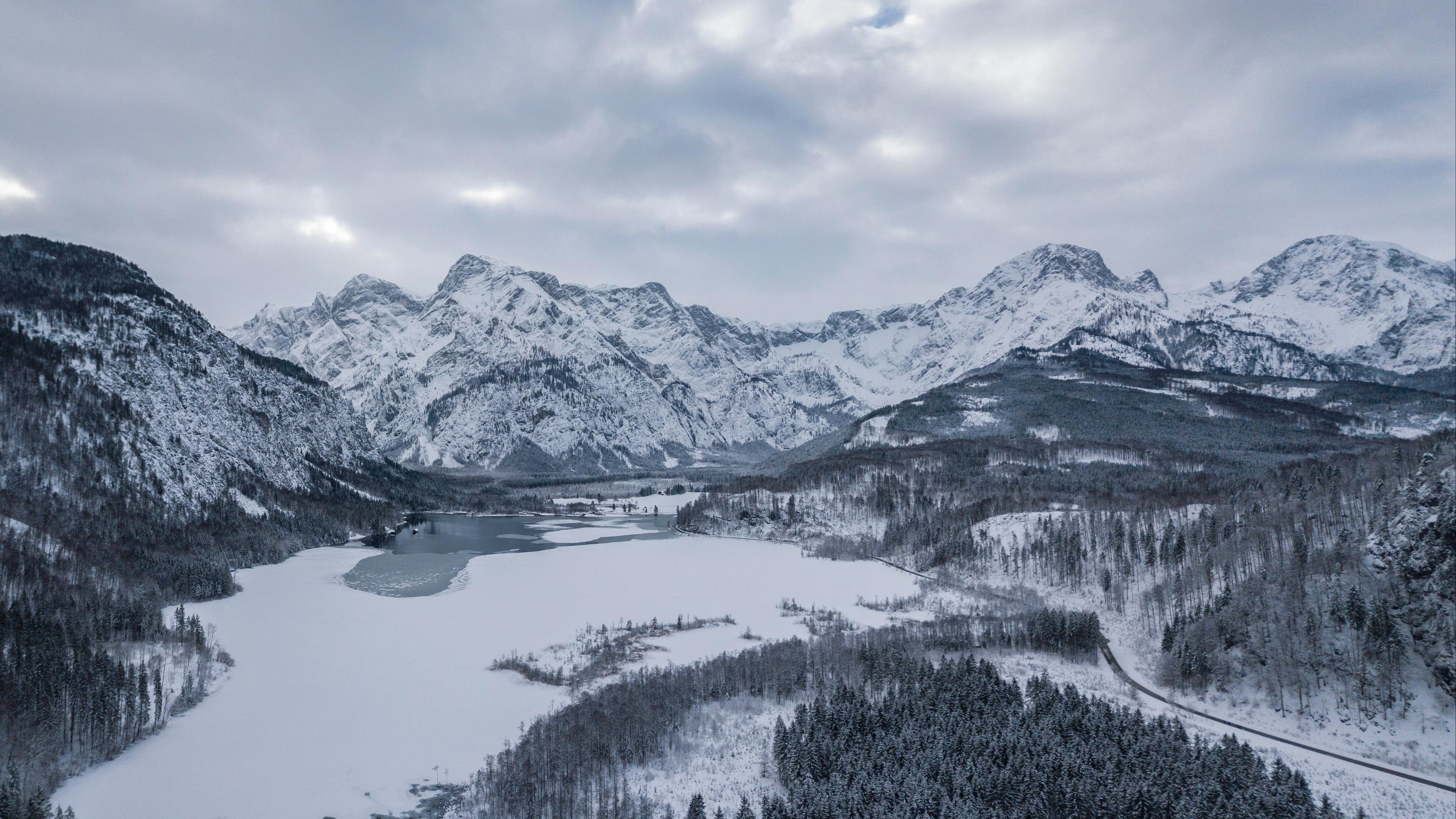 almsee austria mountains winter snow lake 4k 1541115081 - almsee, austria, mountains, winter, snow, lake 4k - Mountains, Austria, almsee