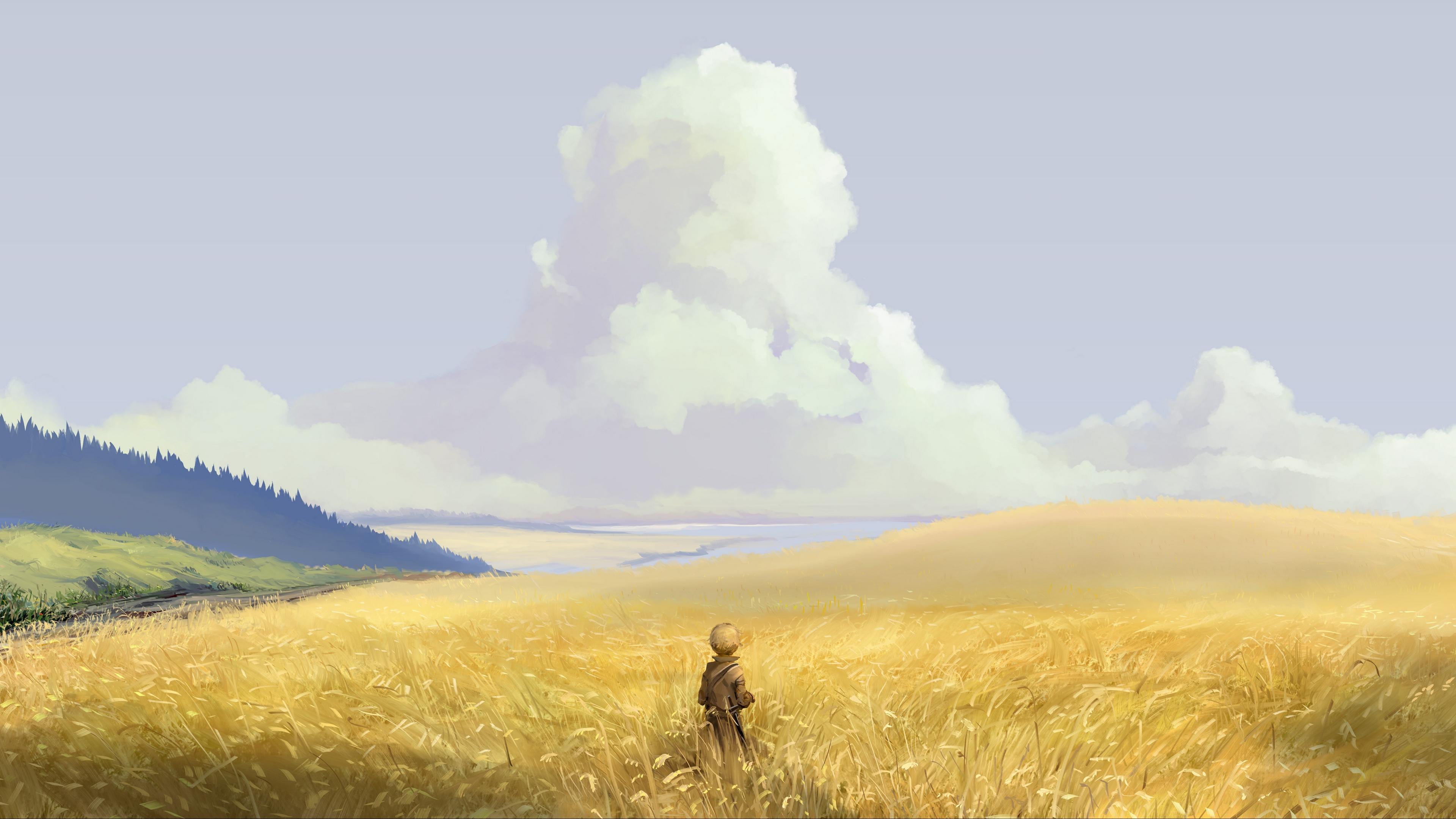 alone art field sky 4k 1541971547 - alone, art, field, sky 4k - Field, art, Alone