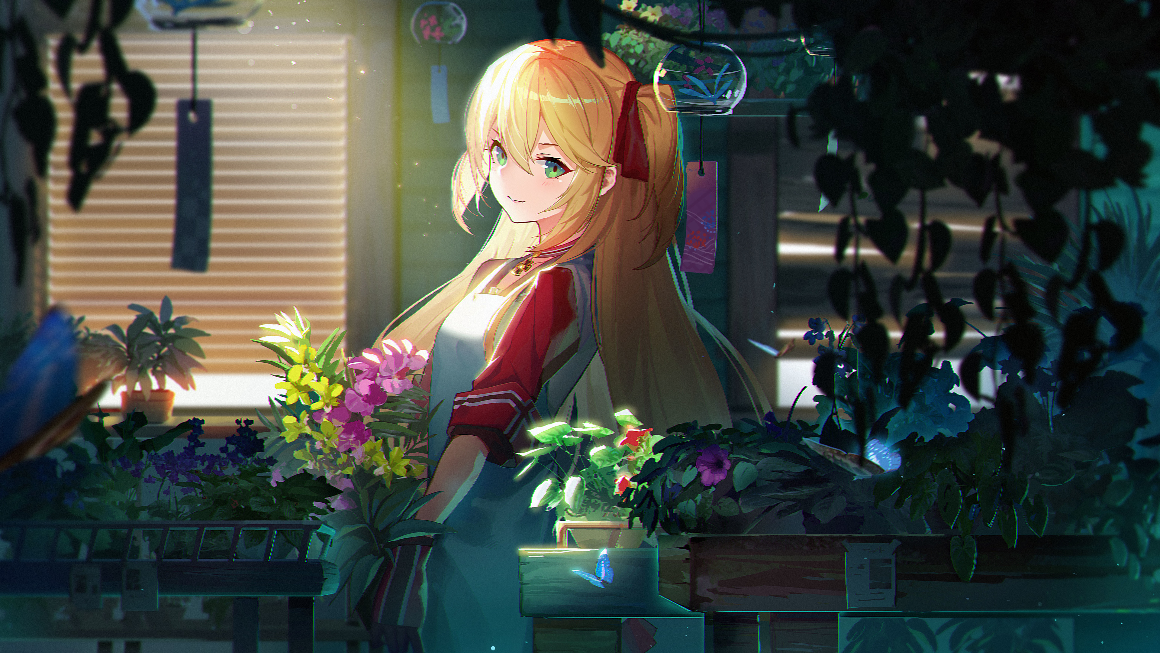 anime flowers blonde twintails girl 1541973928 - Anime Flowers Blonde Twintails Girl - hd-wallpapers, flowers wallpapers, digital art wallpapers, artwork wallpapers, artist wallpapers, anime wallpapers, anime girl wallpapers