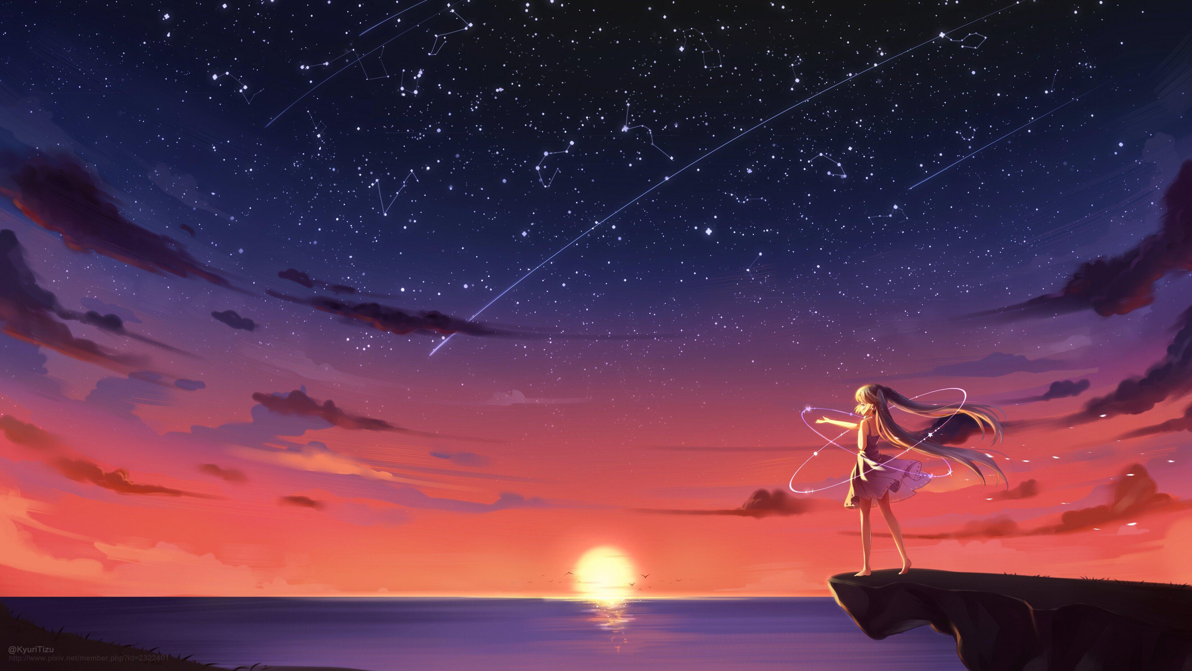 anime girl barefoot blonde sky stars sunset 4k 1541973954 - Anime Girl Barefoot Blonde Sky Stars Sunset 4k - hd-wallpapers, anime wallpapers, anime girl wallpapers, 4k-wallpapers