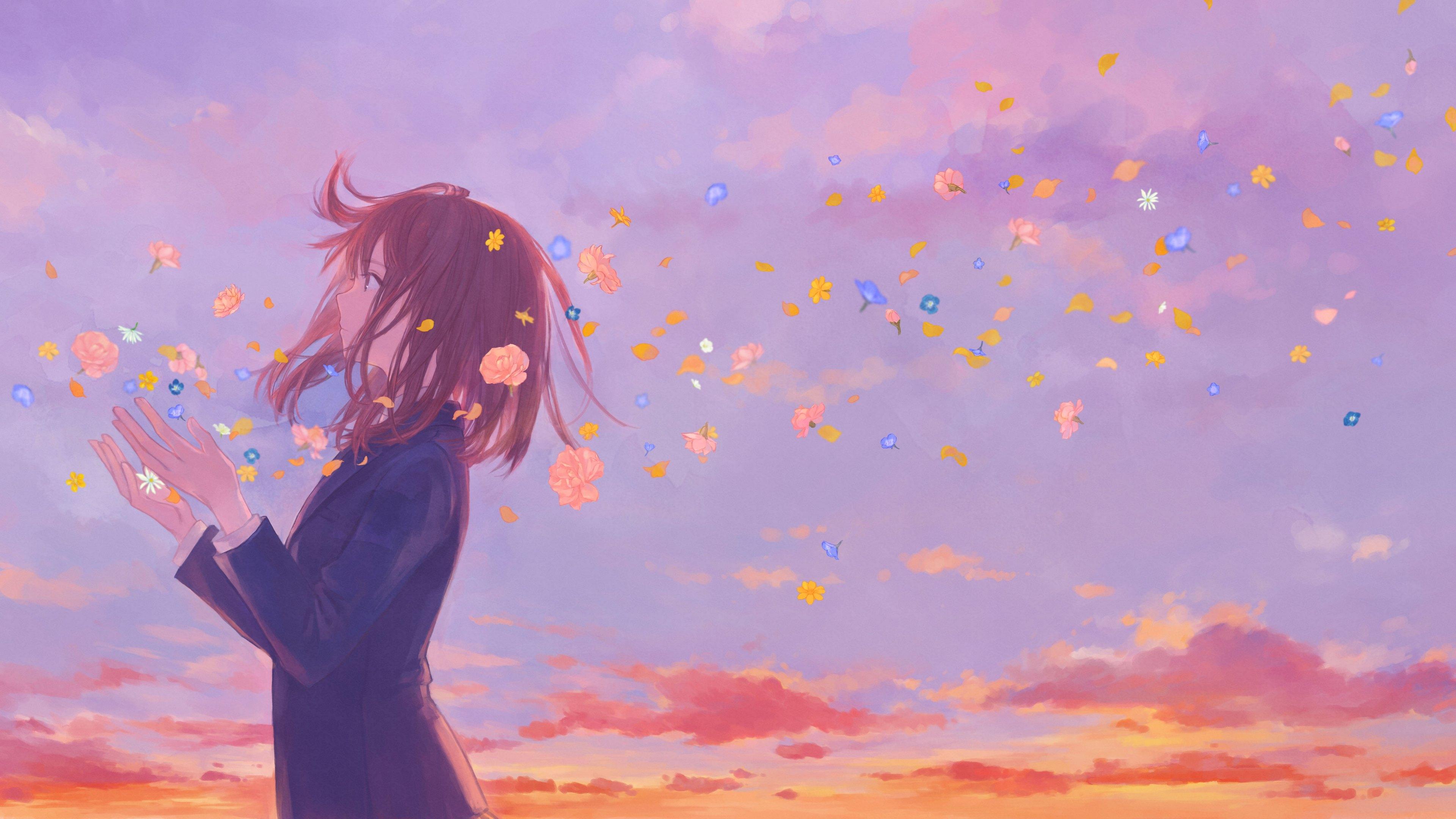 anime girl school uniform flowers clouds 4k 1541974009 - Anime Girl School Uniform Flowers Clouds 4k - school wallpapers, hd-wallpapers, flowers wallpapers, clouds wallpapers, anime wallpapers, anime girl wallpapers, 4k-wallpapers