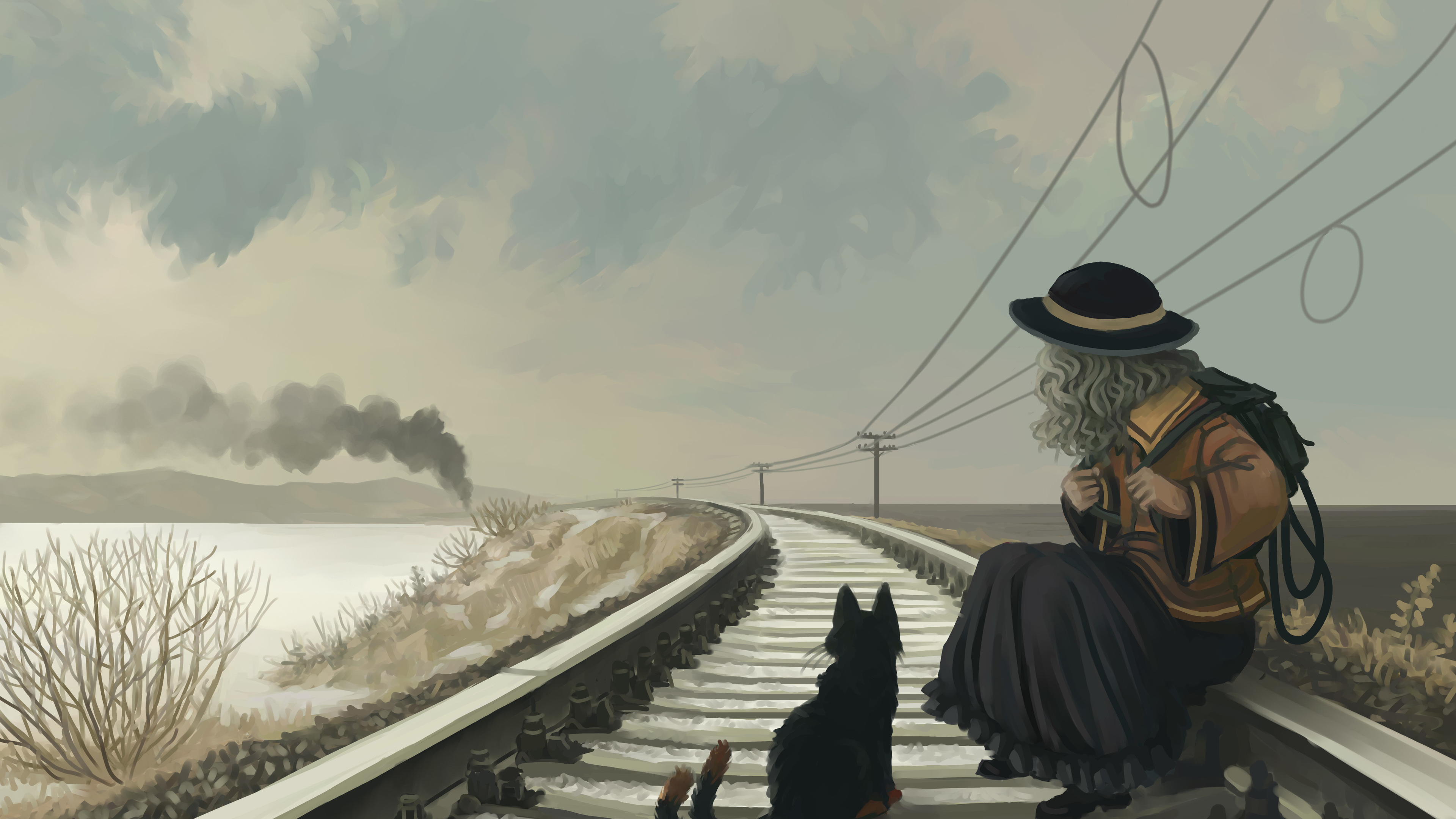 anime girl with cat on railroad 1541973924 - Anime Girl With Cat On Railroad - railroad wallpapers, hd-wallpapers, cat wallpapers, anime wallpapers, anime girl wallpapers, 4k-wallpapers