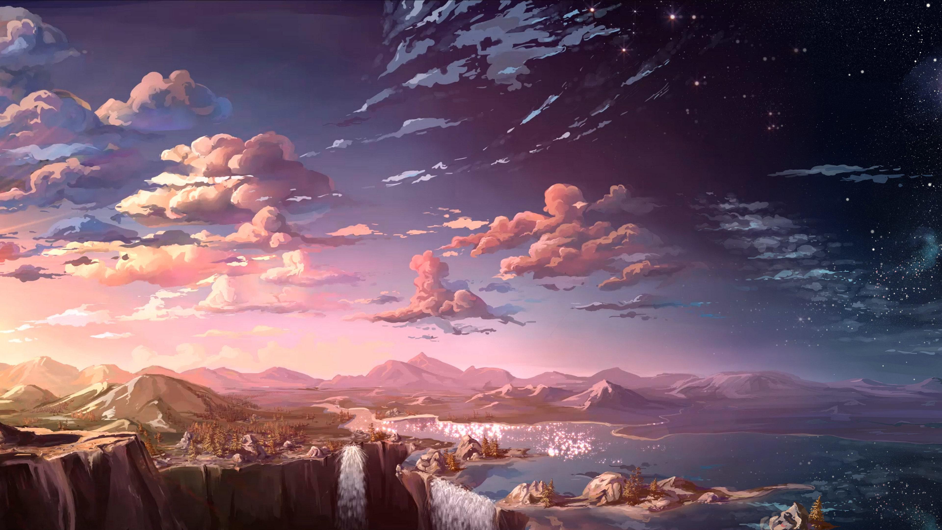 anime landscape waterfall cloud 4k 1541974157 - Anime Landscape Waterfall Cloud 4k - waterfall wallpapers, landscape wallpapers, hd-wallpapers, digital art wallpapers, cloud wallpapers, artwork wallpapers, artist wallpapers, anime wallpapers, 4k-wallpapers