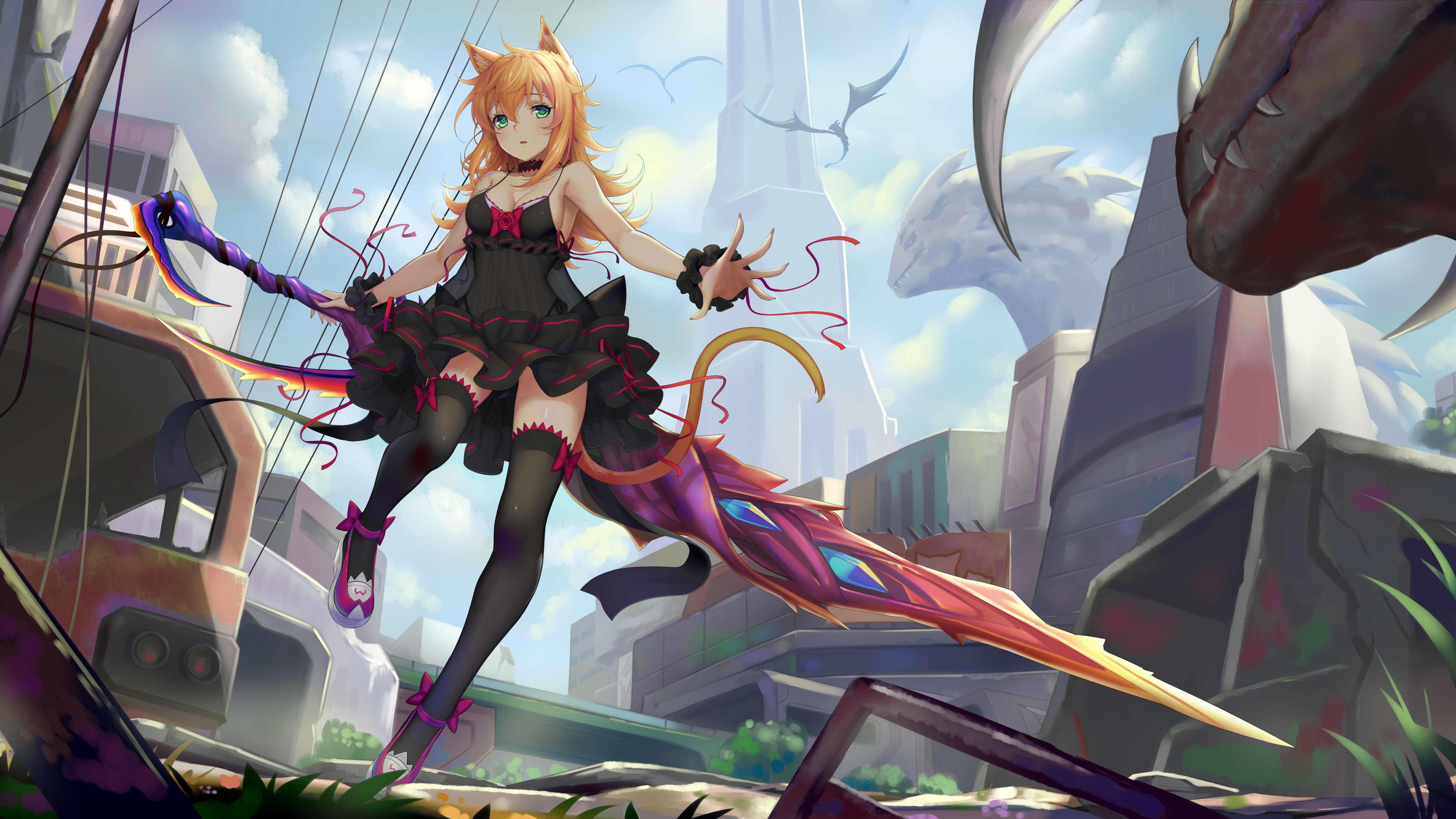 Wallpaper 4k Anime Women Sword 4k 4k Wallpapers Anime Girl