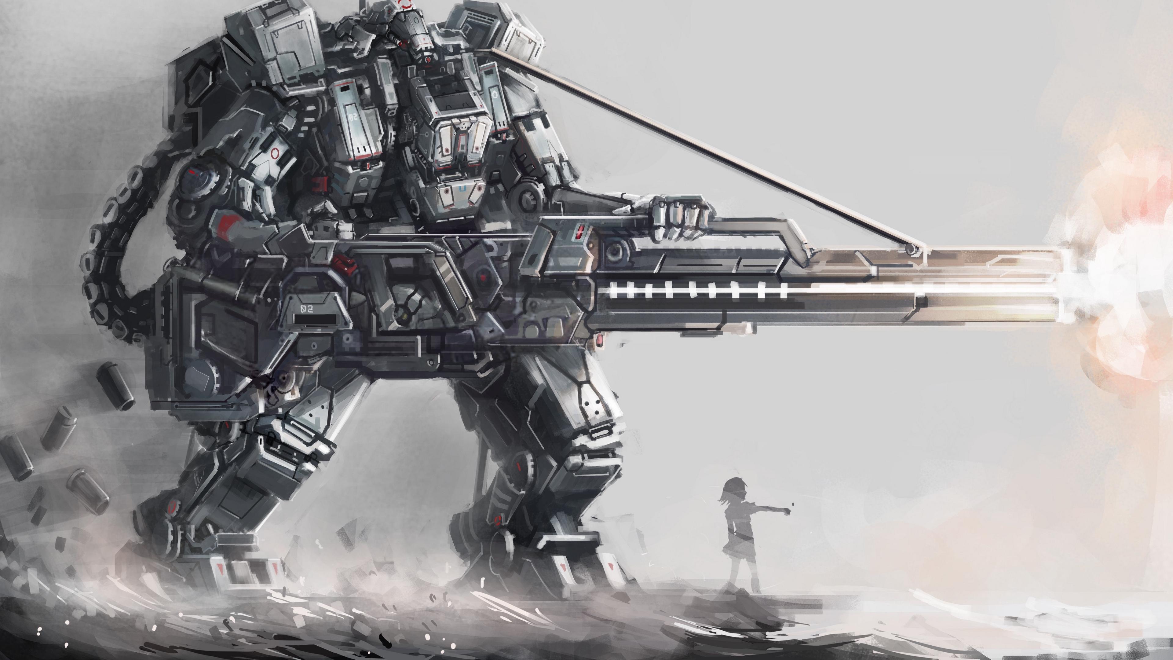 art osama robot giant guns silhouette girl 4k 1541976044 - art, osama, robot, giant, guns, silhouette, girl 4k - Robot, osama, art