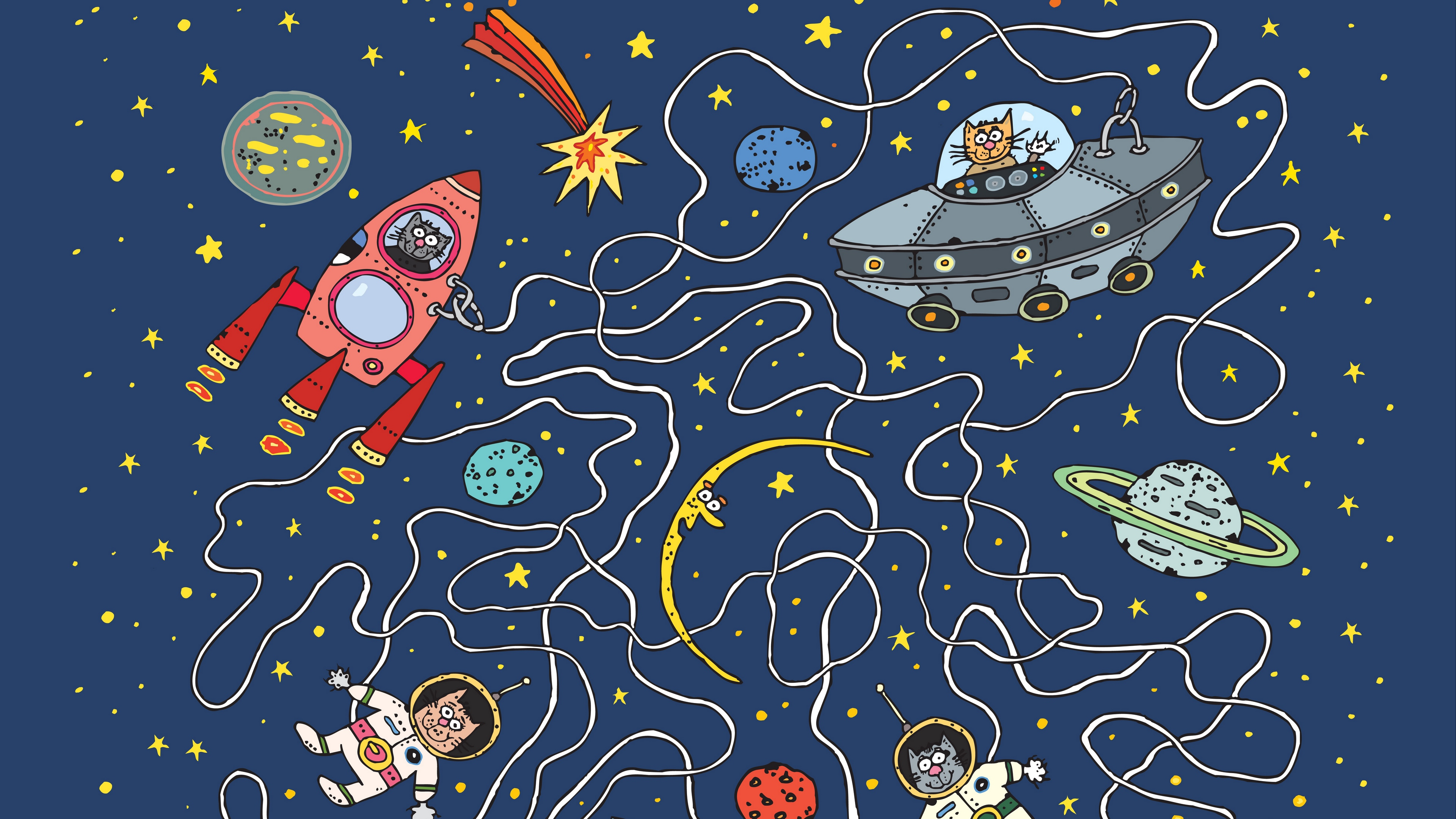 Wallpaper 4k Astronauts Cats Rocket Planet Art Funny 4k