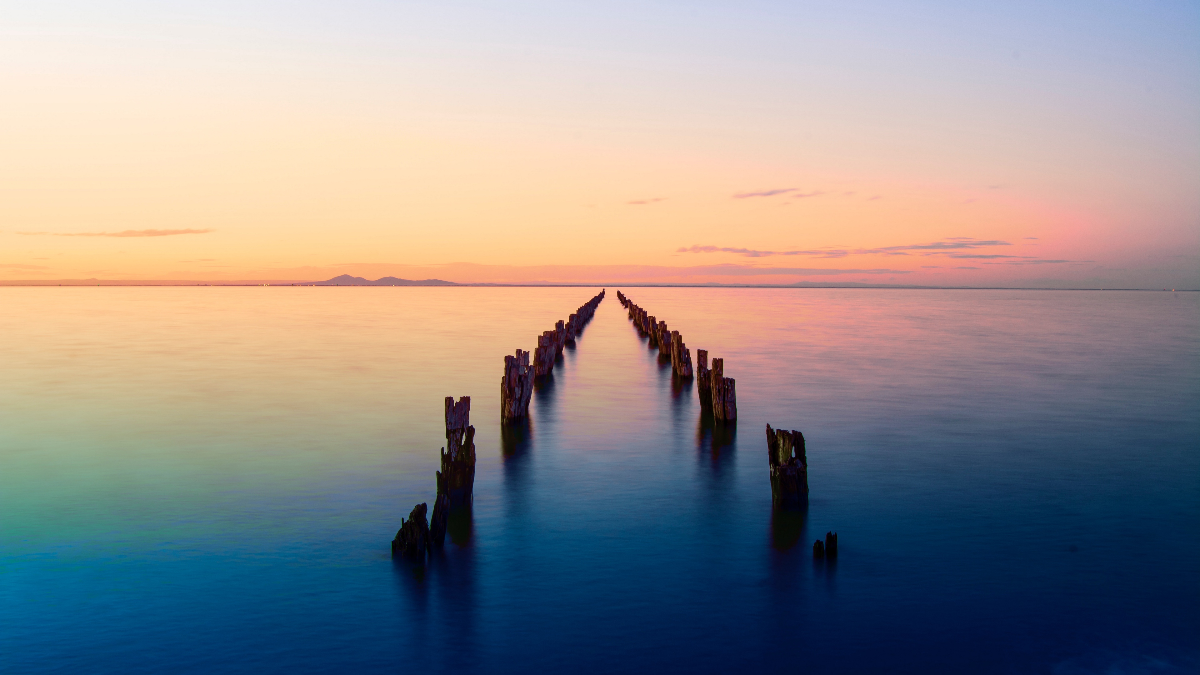 bay horizon sunset pier ruins clifton springs australia 4k 1541116669 - bay, horizon, sunset, pier, ruins, clifton springs, australia 4k - sunset, Horizon, Bay
