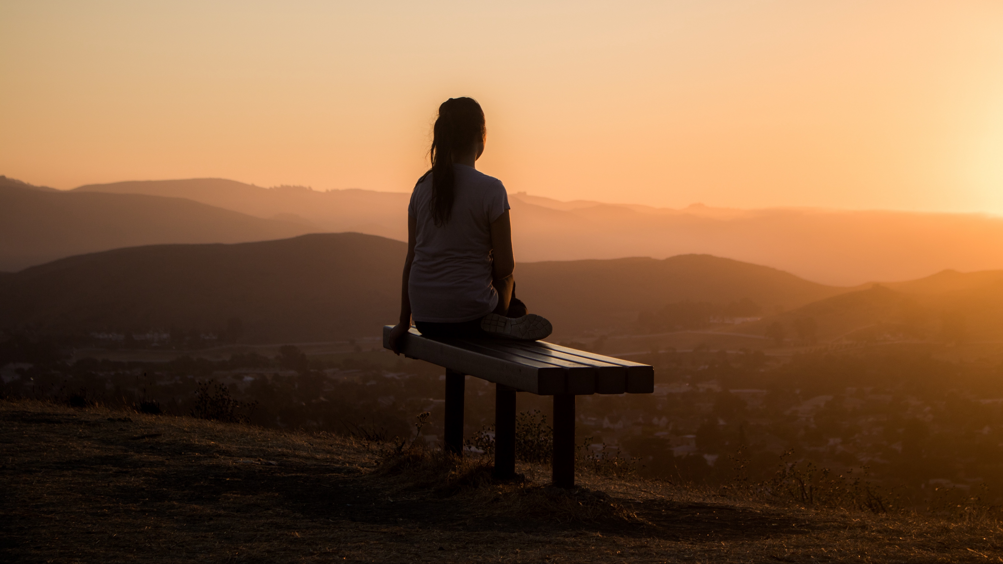 bench alone solitude sunset mountains girl 4k 1541117209 - bench, alone, solitude, sunset, mountains, girl 4k - solitude, Bench, Alone