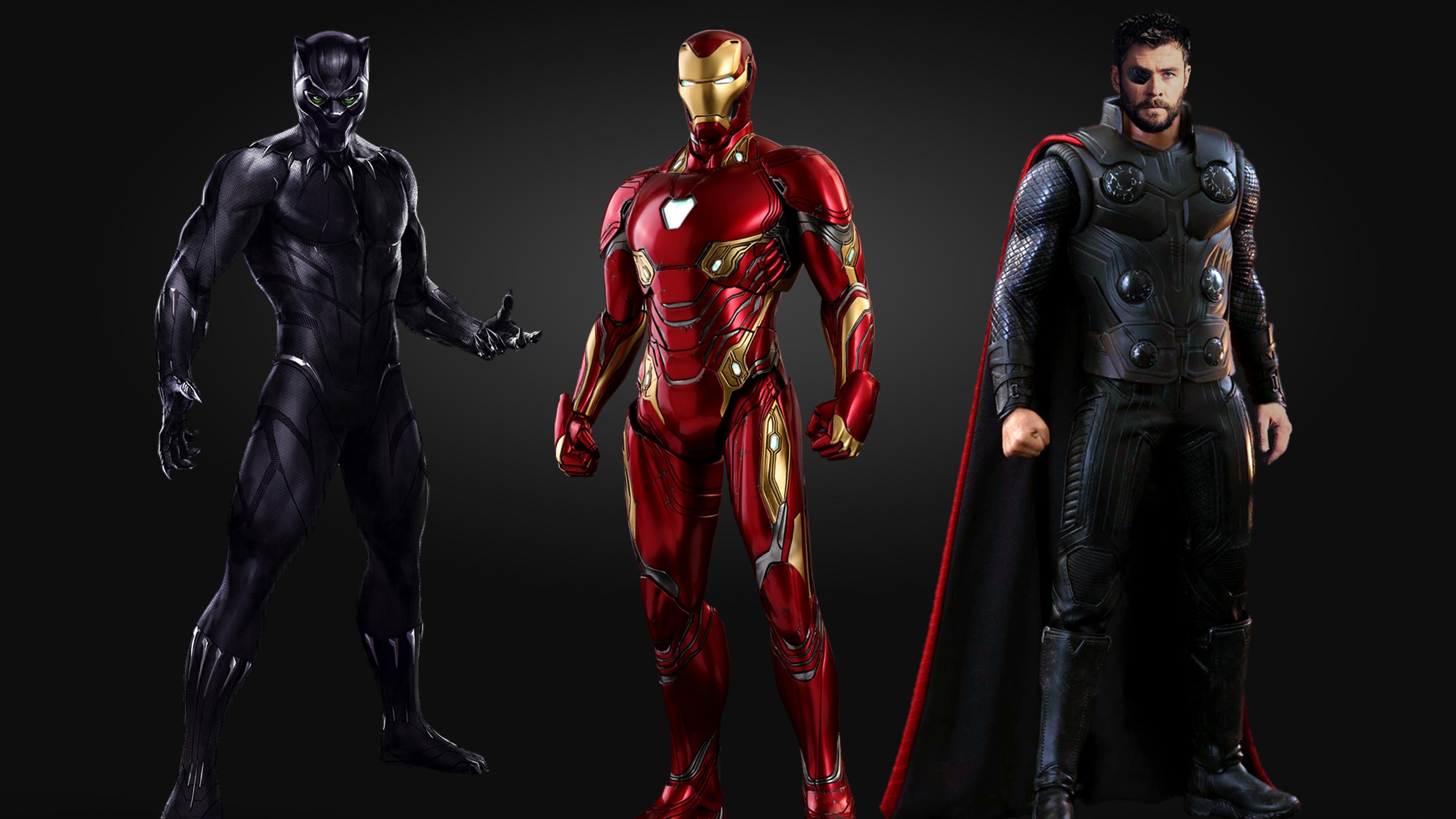 Wallpaper 4k Black Panther Iron Man Thor 4k 4k Wallpapers Art